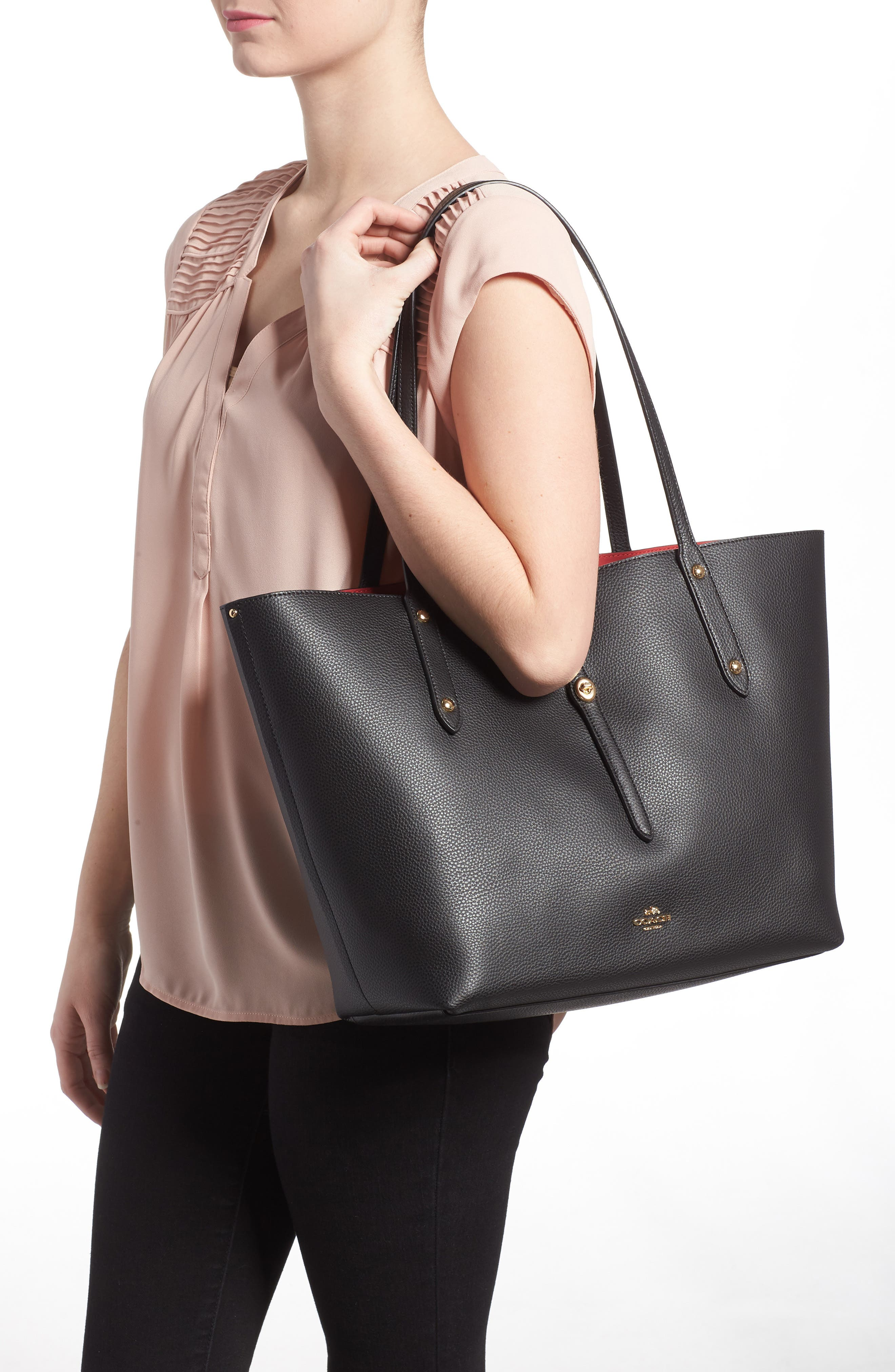 Market Pebbled Leather Tote,                             Alternate thumbnail 2, color,                             BLACK / TRUE RED