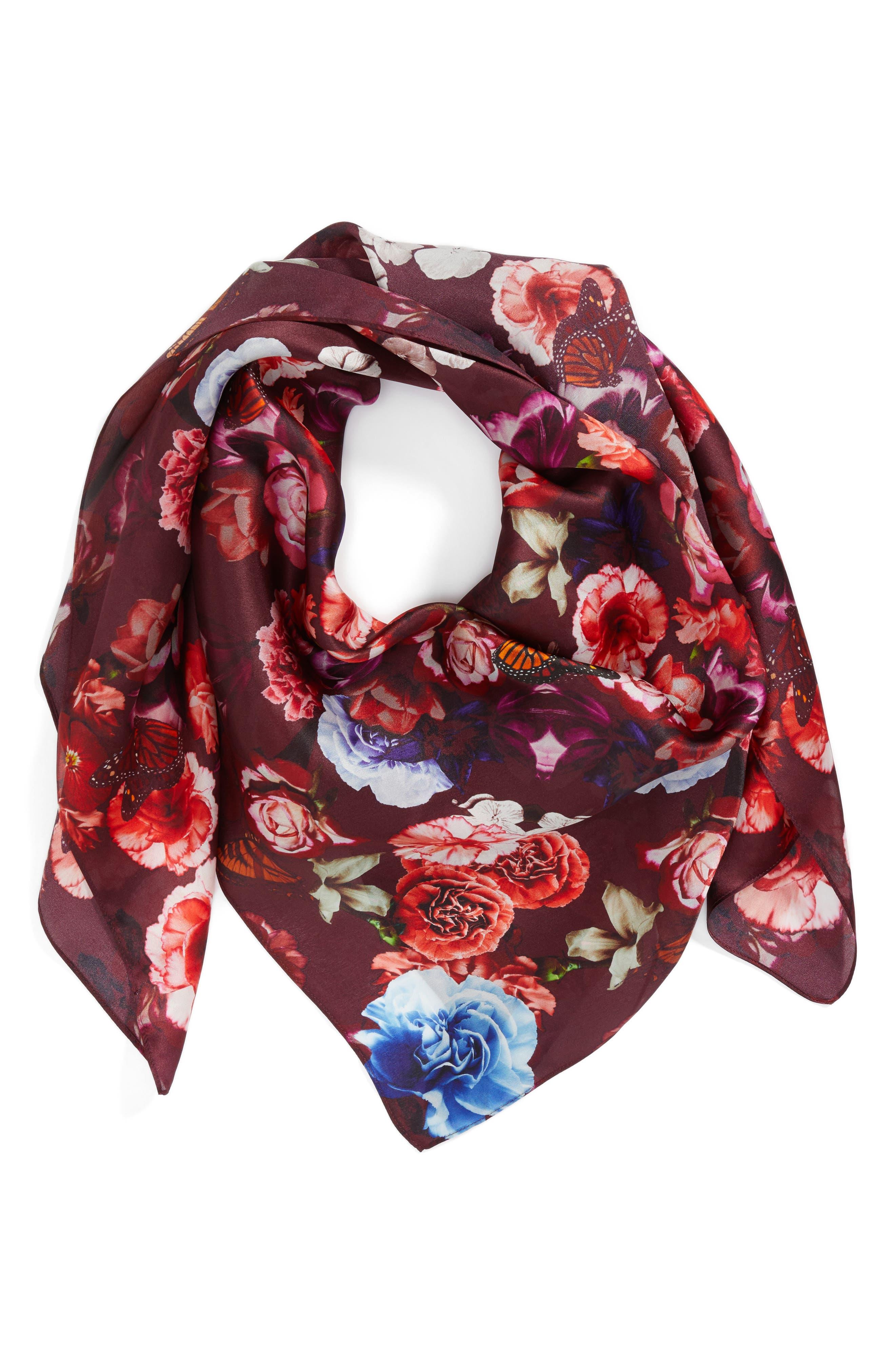 Floral Gem Square Silk Scarf,                             Alternate thumbnail 2, color,                             001