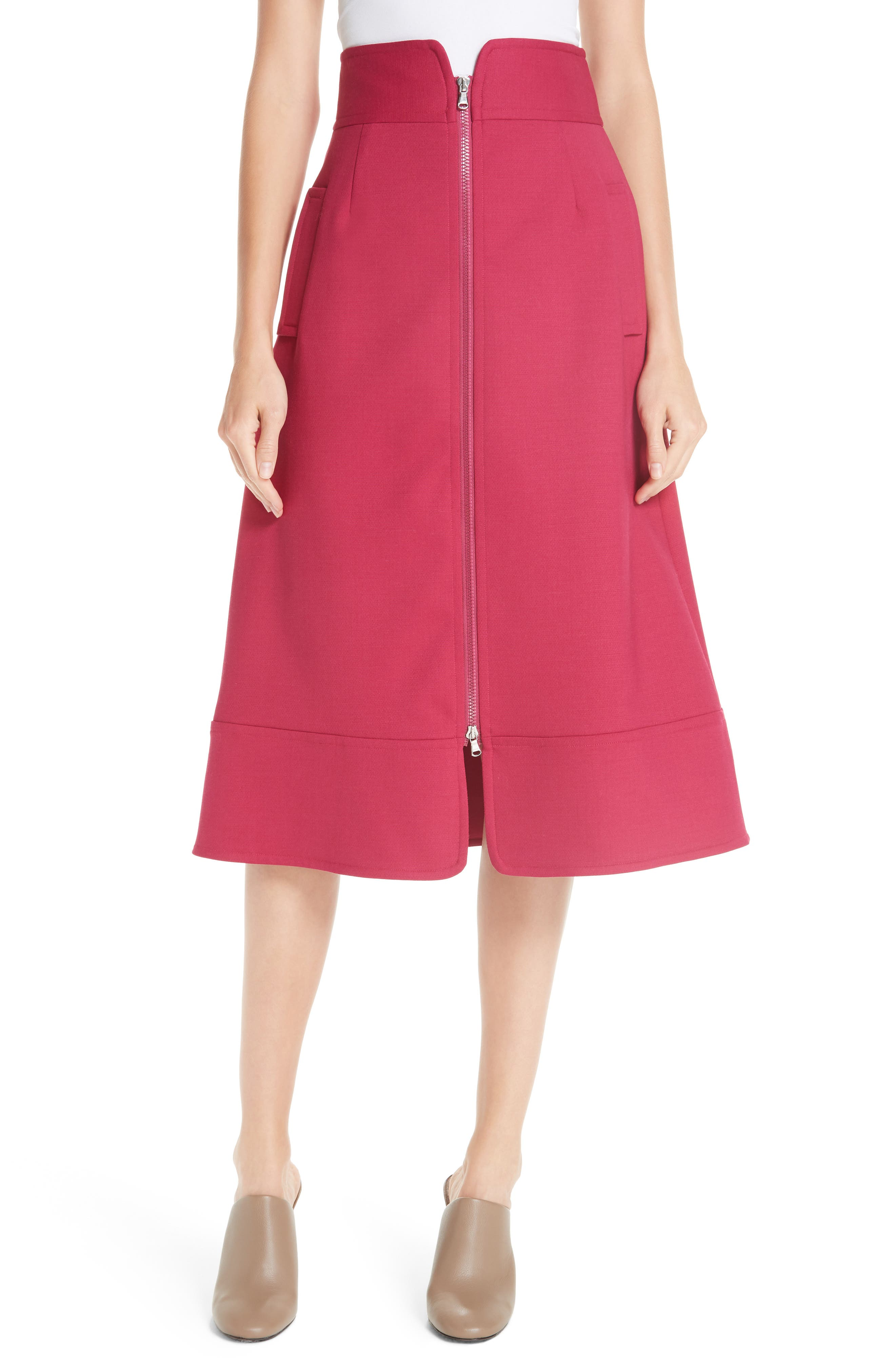 Zip Front A-Line Skirt,                             Main thumbnail 1, color,                             FUCHSIA