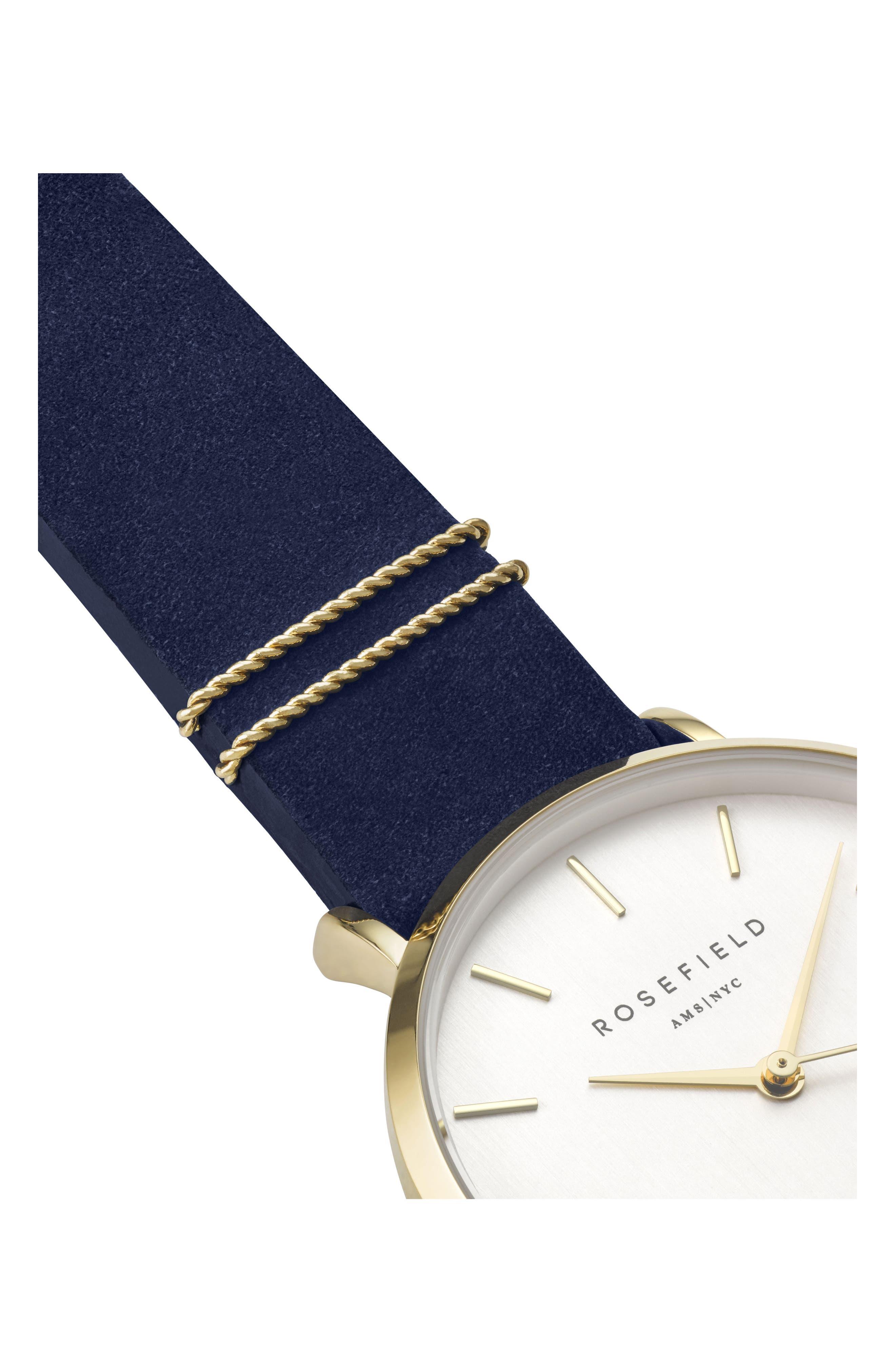 West Village Leather Strap Watch, 33mm,                             Alternate thumbnail 3, color,                             BLUE/ WHITE/ GOLD