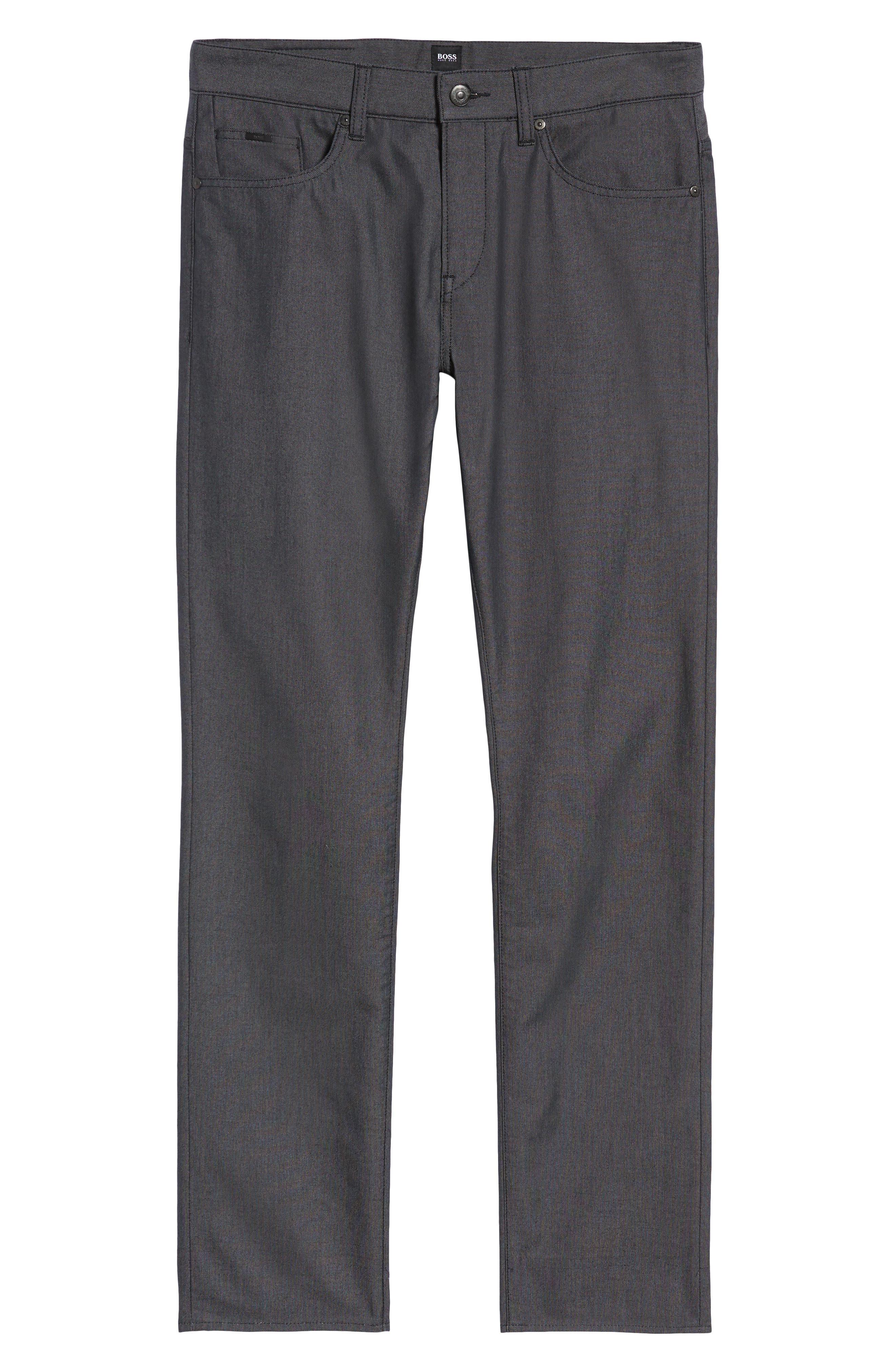 Delaware Slim Fit Pin Dot Pants,                             Alternate thumbnail 6, color,                             BLACK