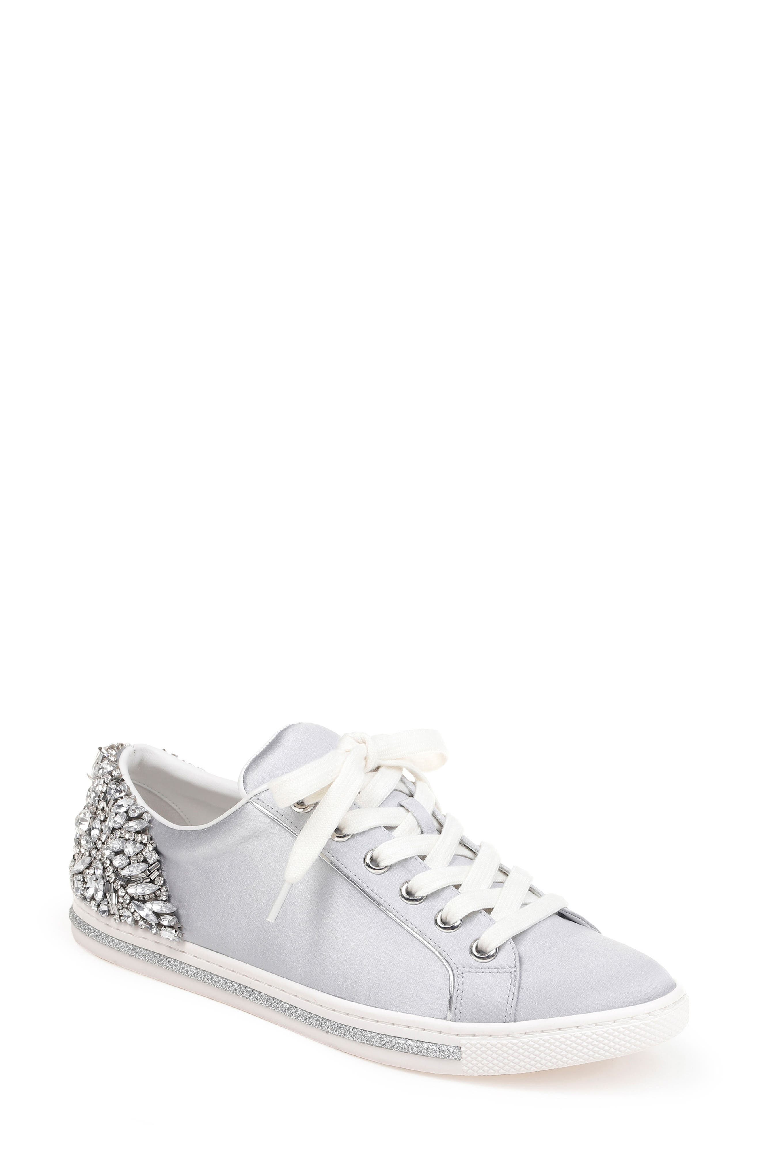 Badgley Mischka Shirley Crystal Embellished Sneaker,                             Main thumbnail 1, color,                             045