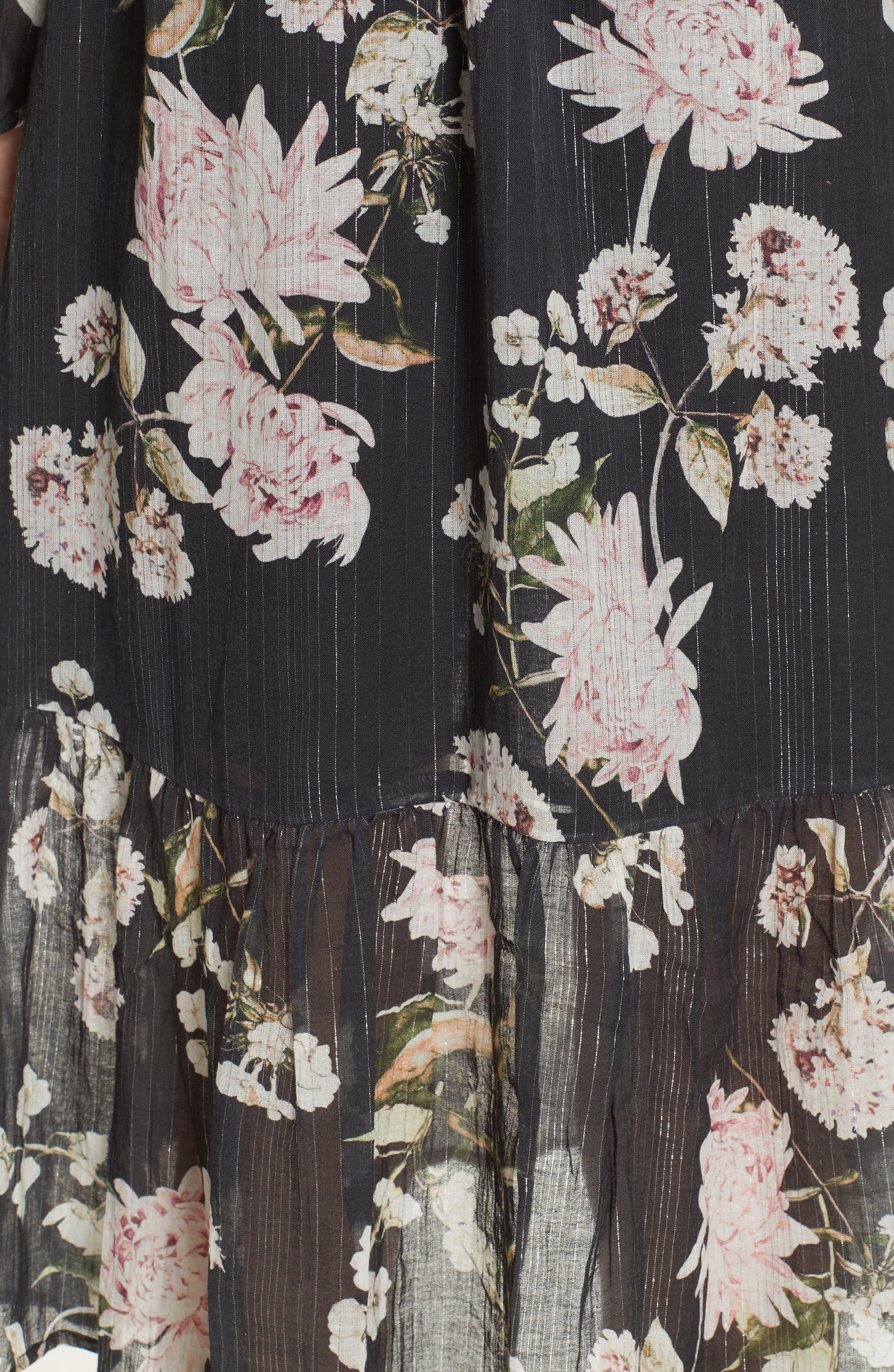 Ruffled Floral Midi Dress,                             Alternate thumbnail 5, color,                             BLACK CHRYSANTHEMUM