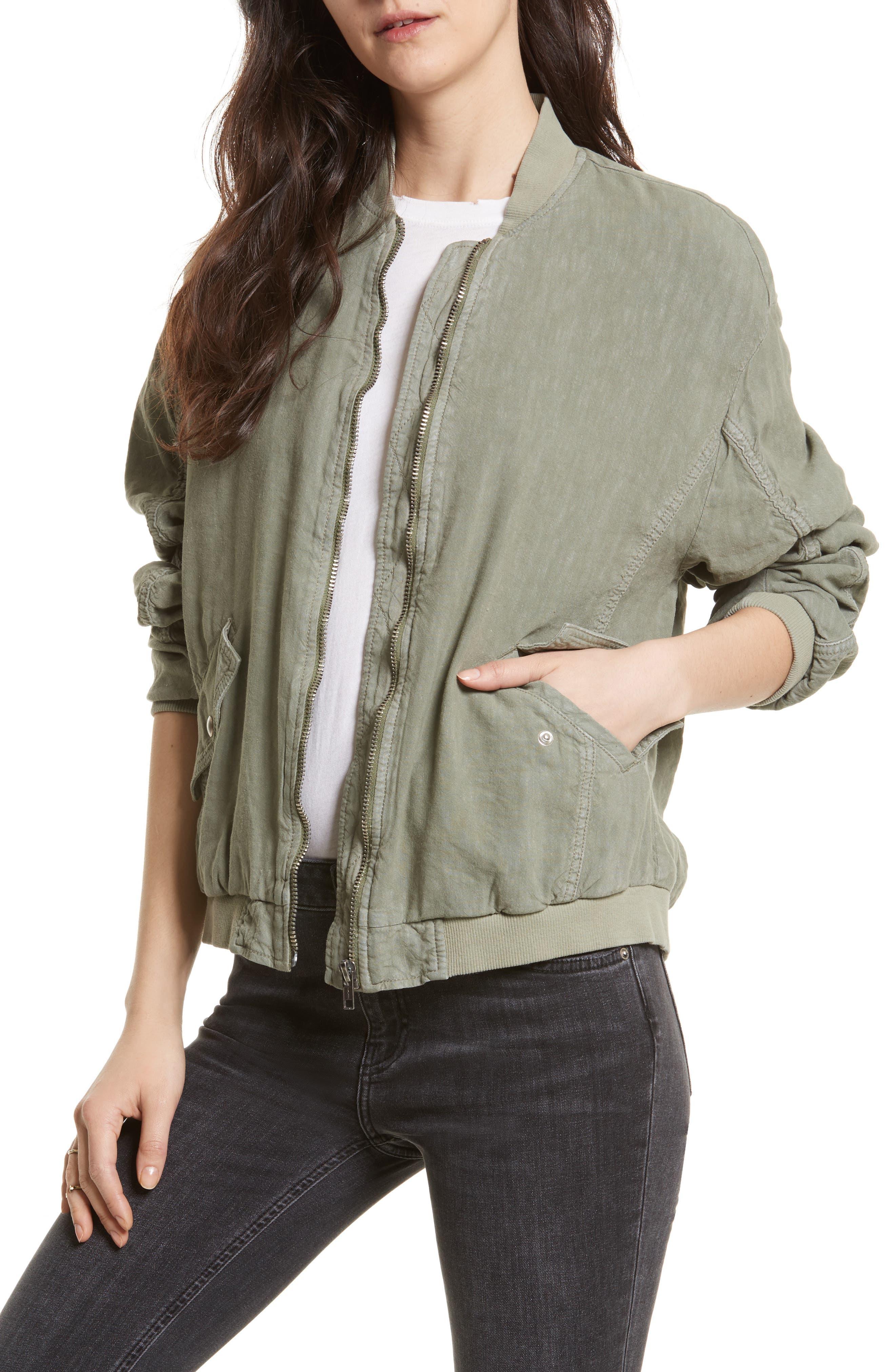 Ruched Linen Bomber Jacket, Main, color, 300