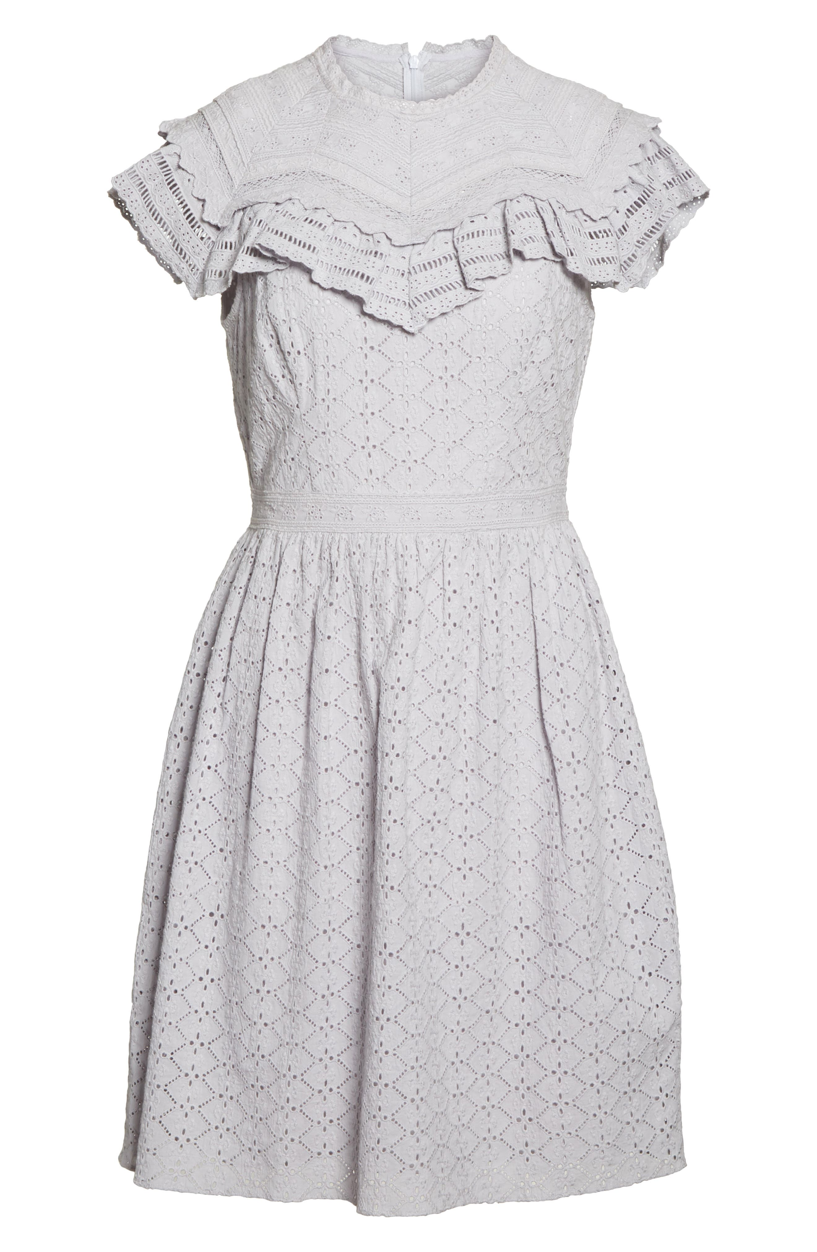 Tiled Broderie Anglaise Lace Dress,                             Alternate thumbnail 6, color,