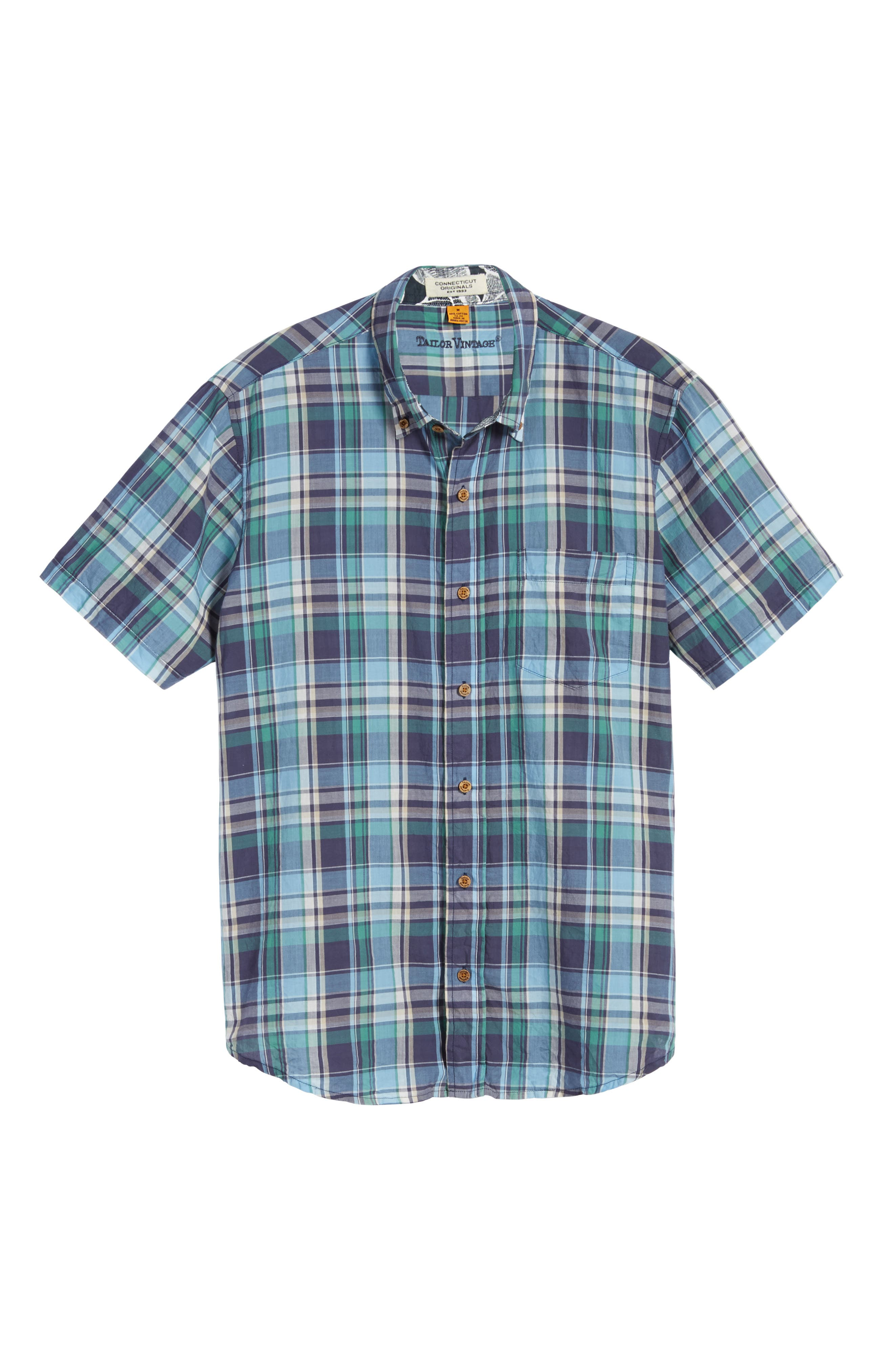 TAILOR VINTAGE,                             Crinkle Plaid Sport Shirt,                             Alternate thumbnail 6, color,                             424