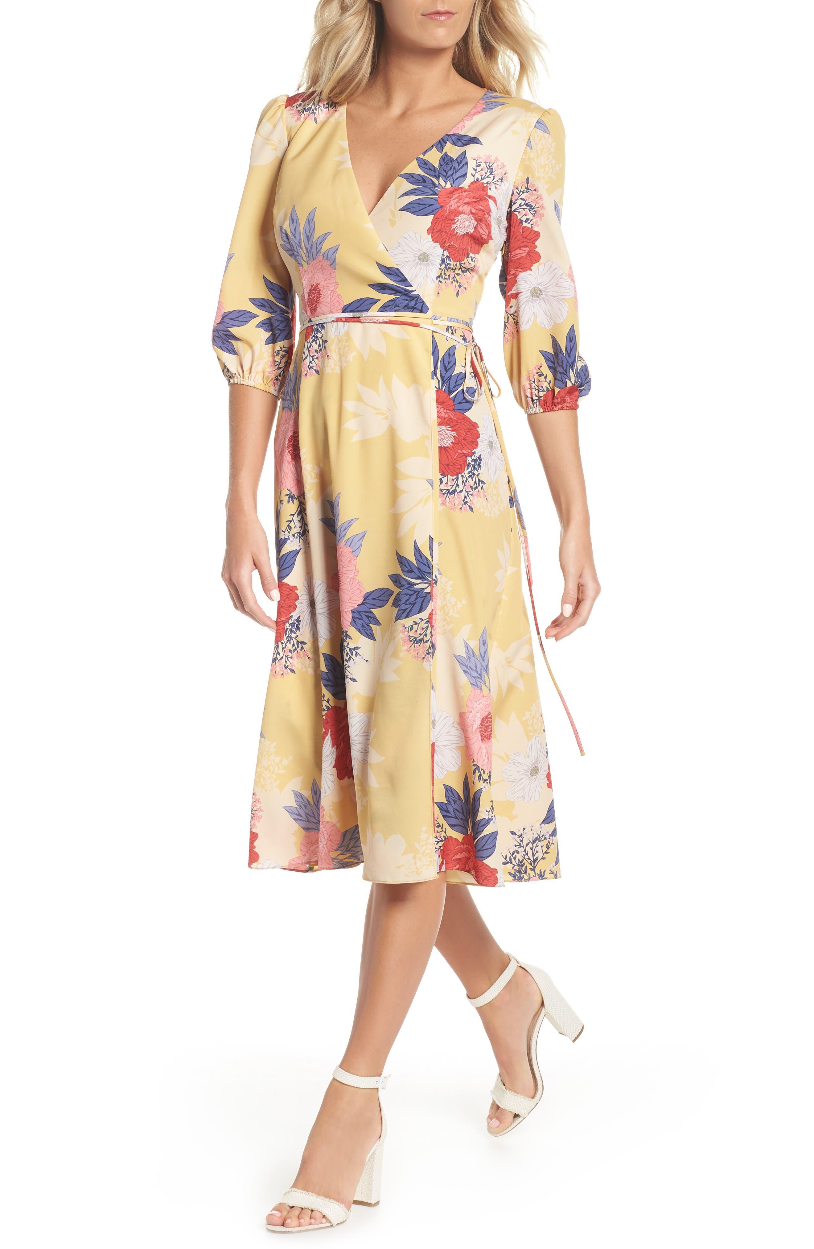Faux Wrap Midi Dress,                             Alternate thumbnail 6, color,                             720