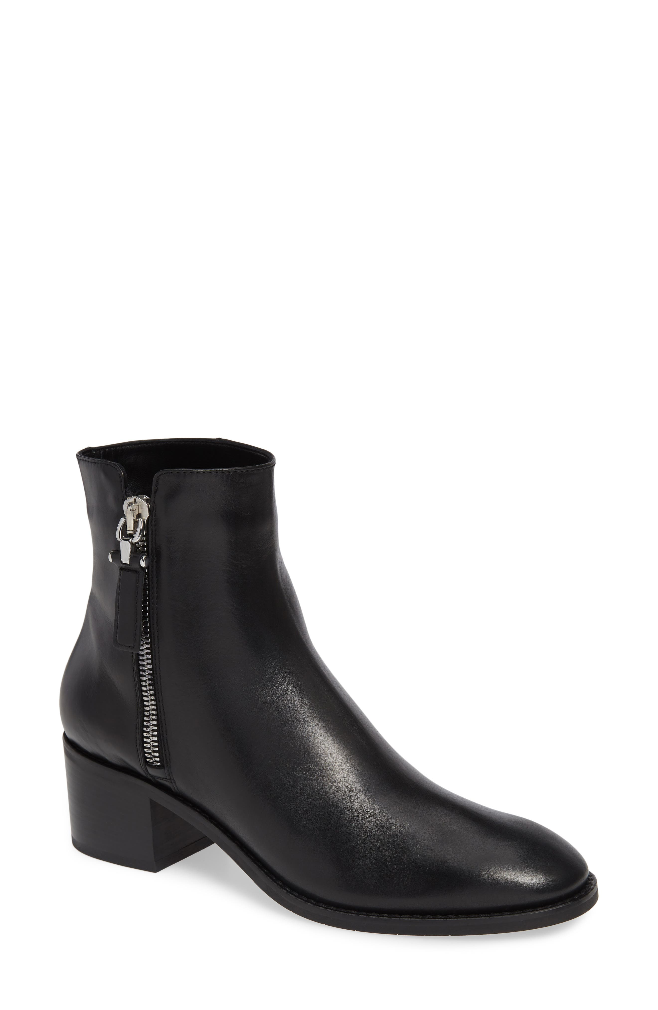 AQUATALIA Josephine Leather Ankle Boots in Black