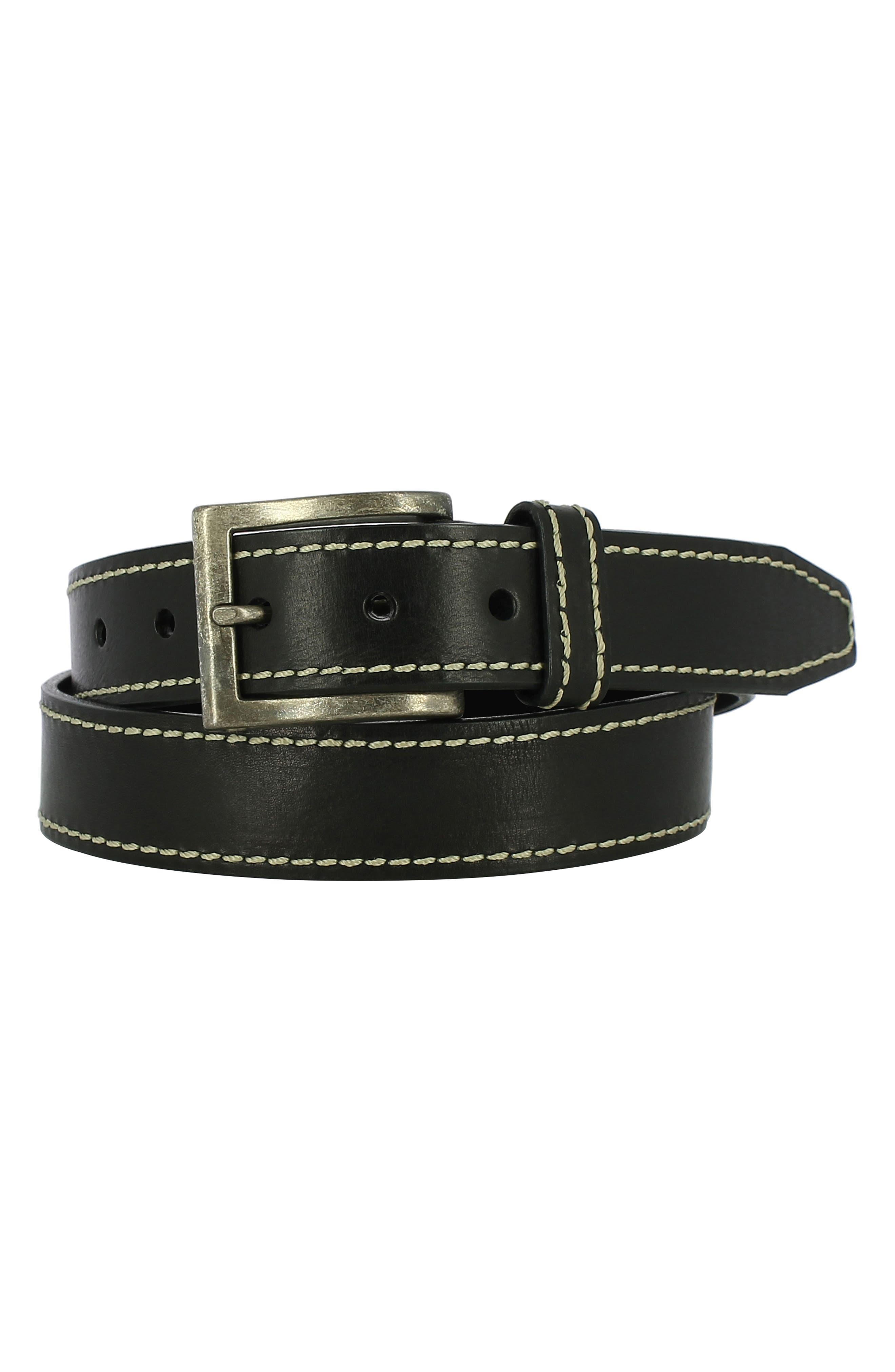 Bo Leather Belt,                         Main,                         color, 001