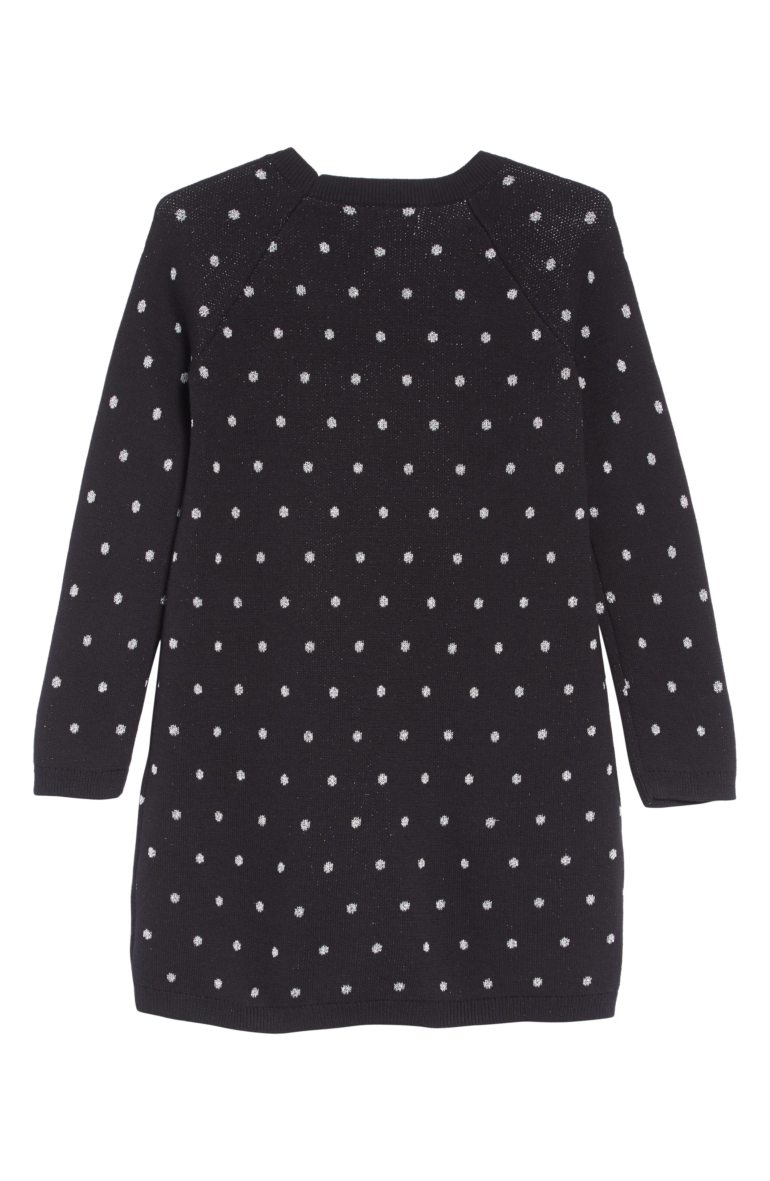 Fuzzy Pocket Sweater Dress,                             Alternate thumbnail 2, color,                             BLACK- SILVER DOT