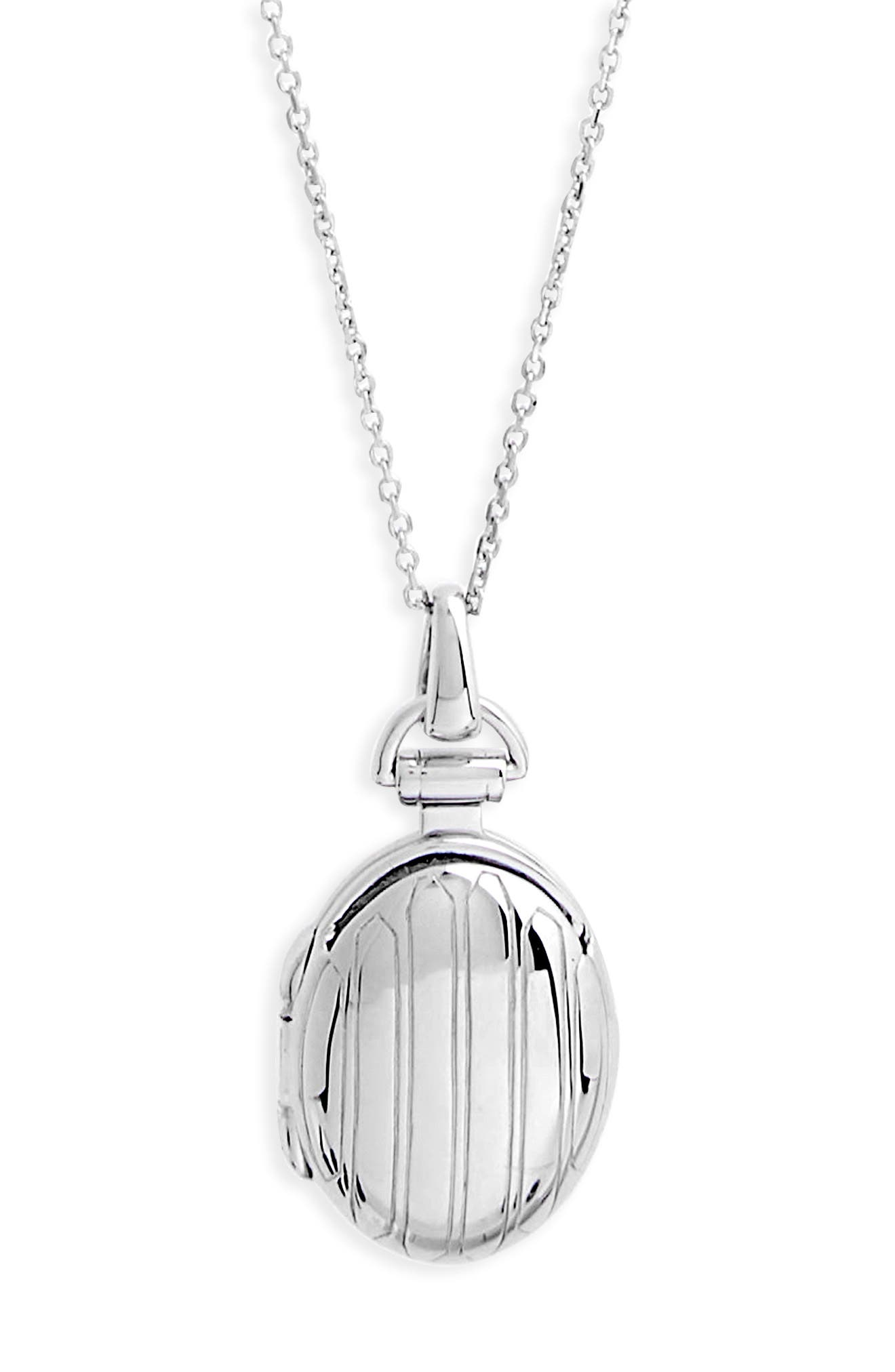 Petite Locket Necklace,                             Alternate thumbnail 3, color,                             STERLING SILVER