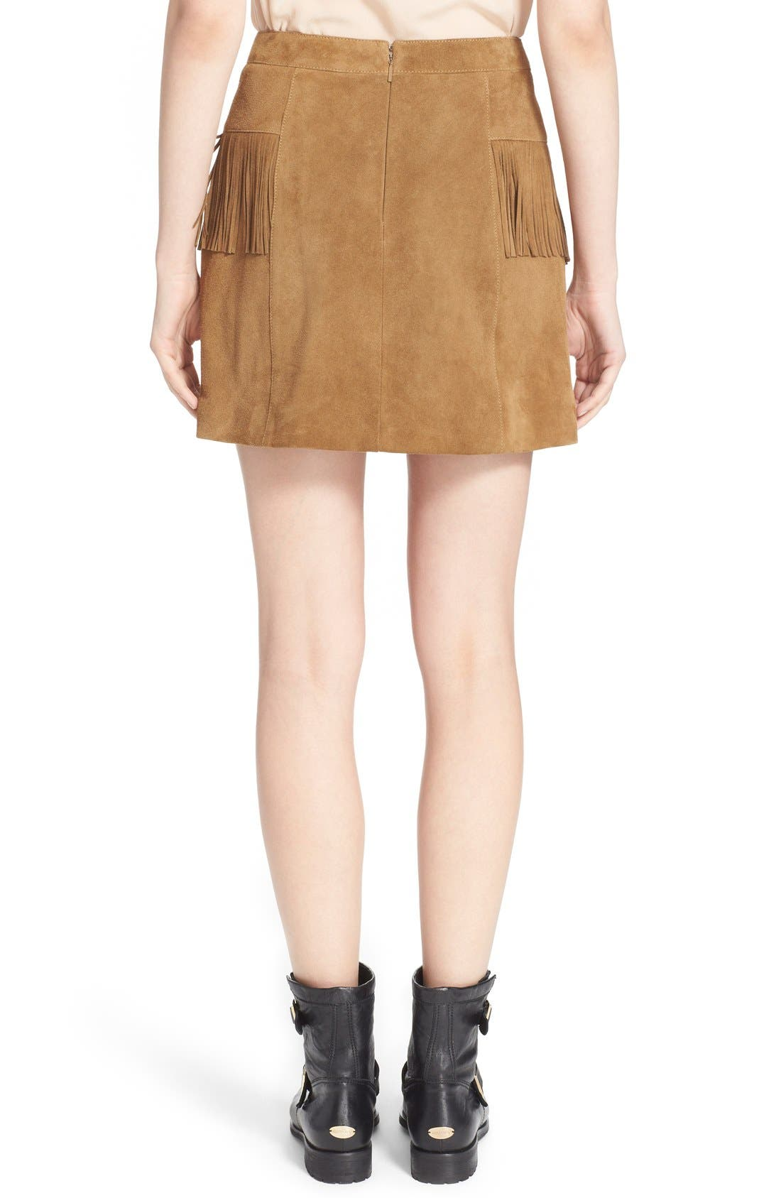Suede Fringe Mini Skirt,                             Alternate thumbnail 3, color,                             244