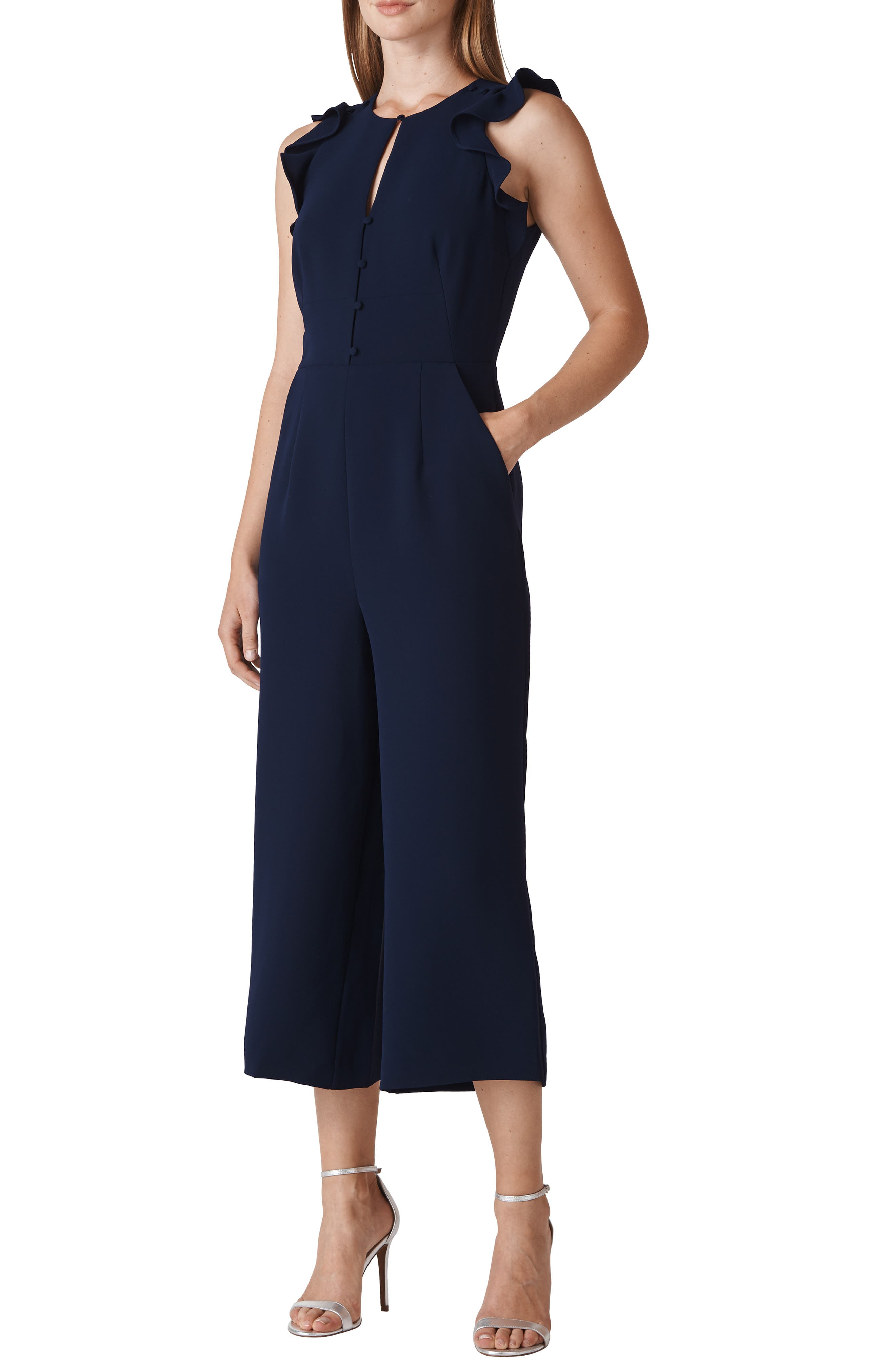 Miranda Crepe Jumpsuit,                         Main,                         color, NAVY