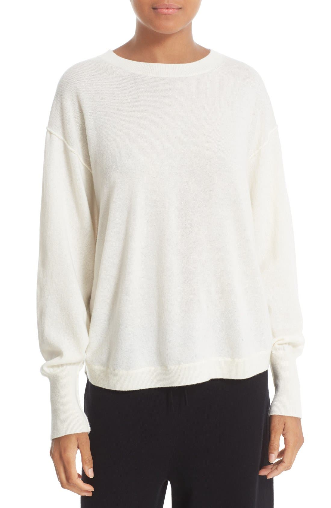 Shirttail Cashmere Sweater, Main, color, 101