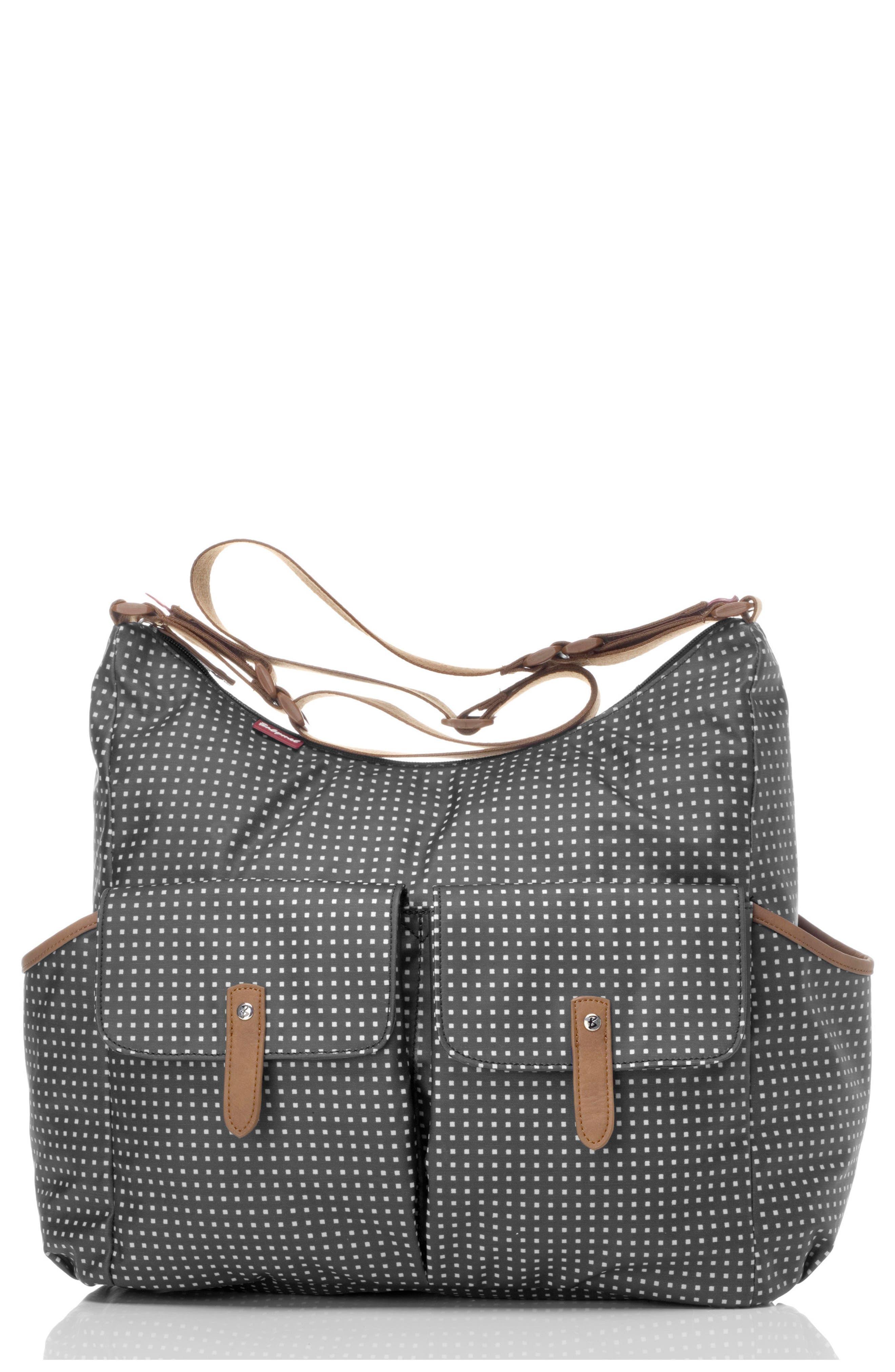 'Frankie' Diaper Bag,                         Main,                         color, PIXEL DOT BLACK