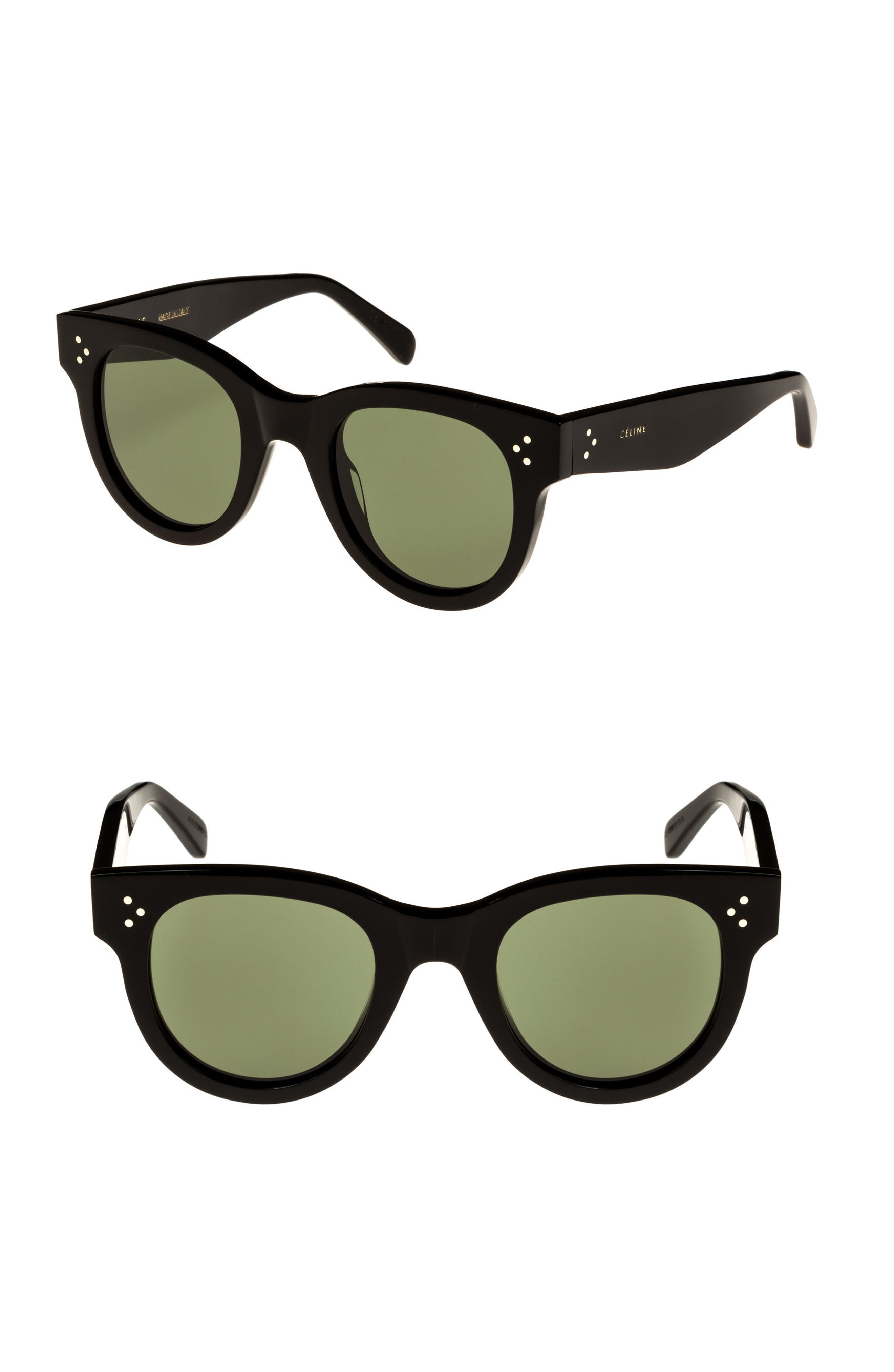 Studded Acetate Sunglasses W/ Mineral Lenses, Black in Black/ Green