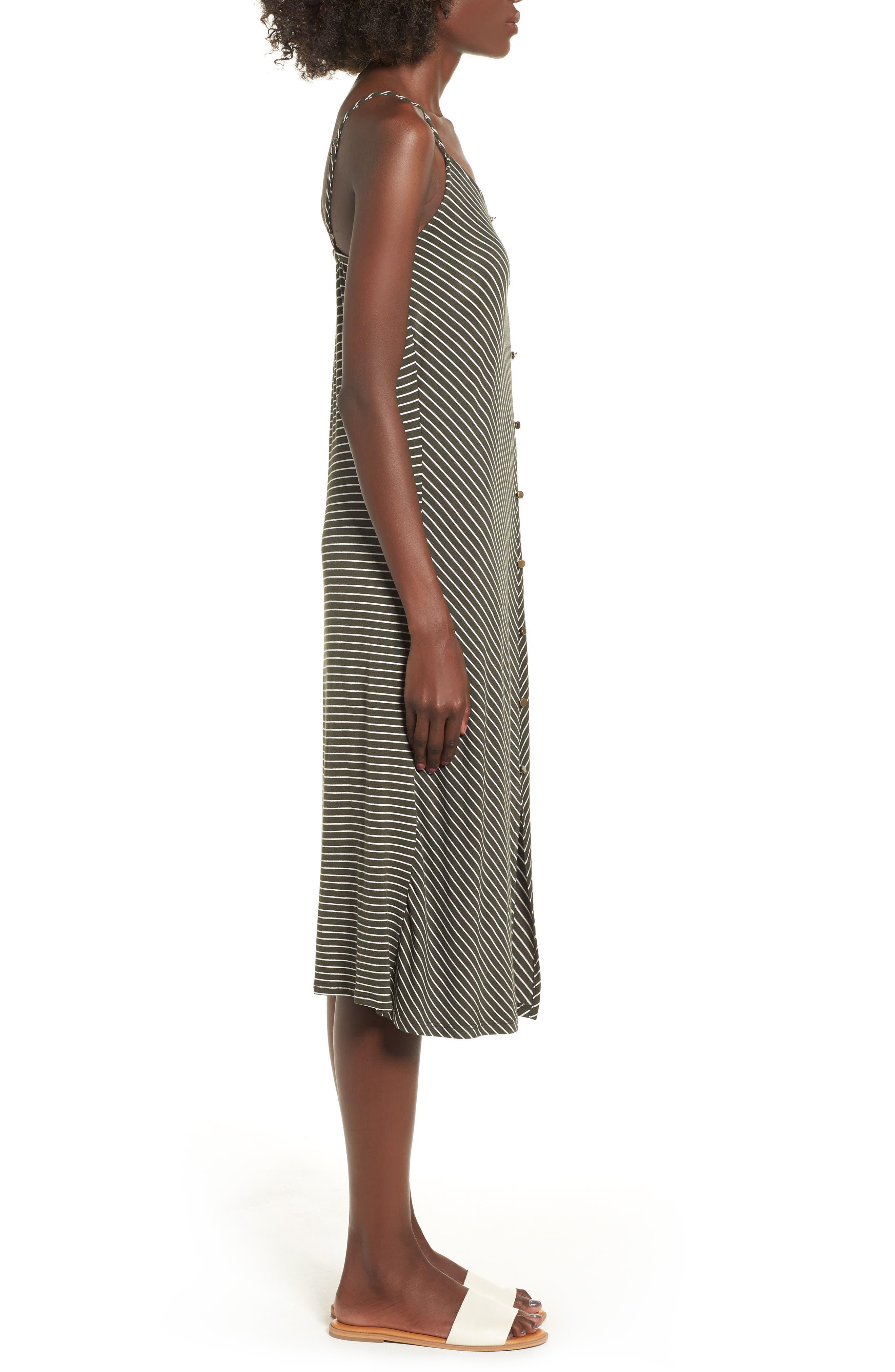 Chevron Stripe Midi Dress,                             Alternate thumbnail 3, color,                             OLIVE/IVORY