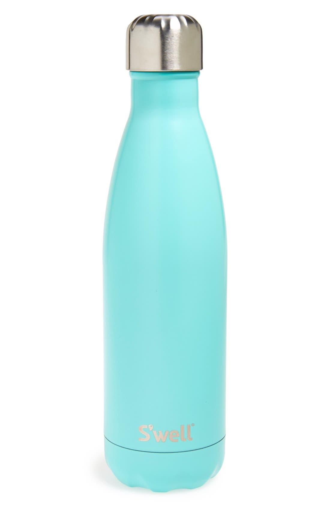 S'WELL 'Turquoise Blue' Stainless Steel Water Bottle, Main, color, 440