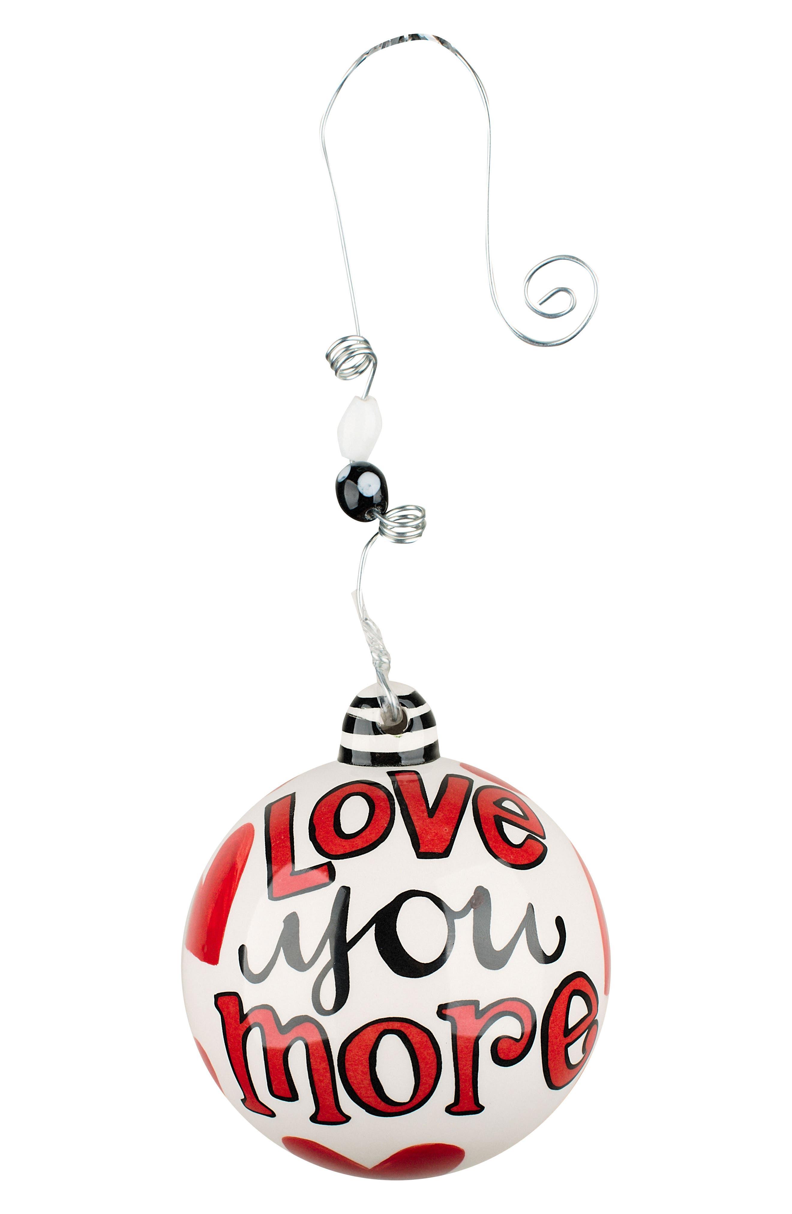 Love You More Ball Ornament,                             Main thumbnail 1, color,                             900