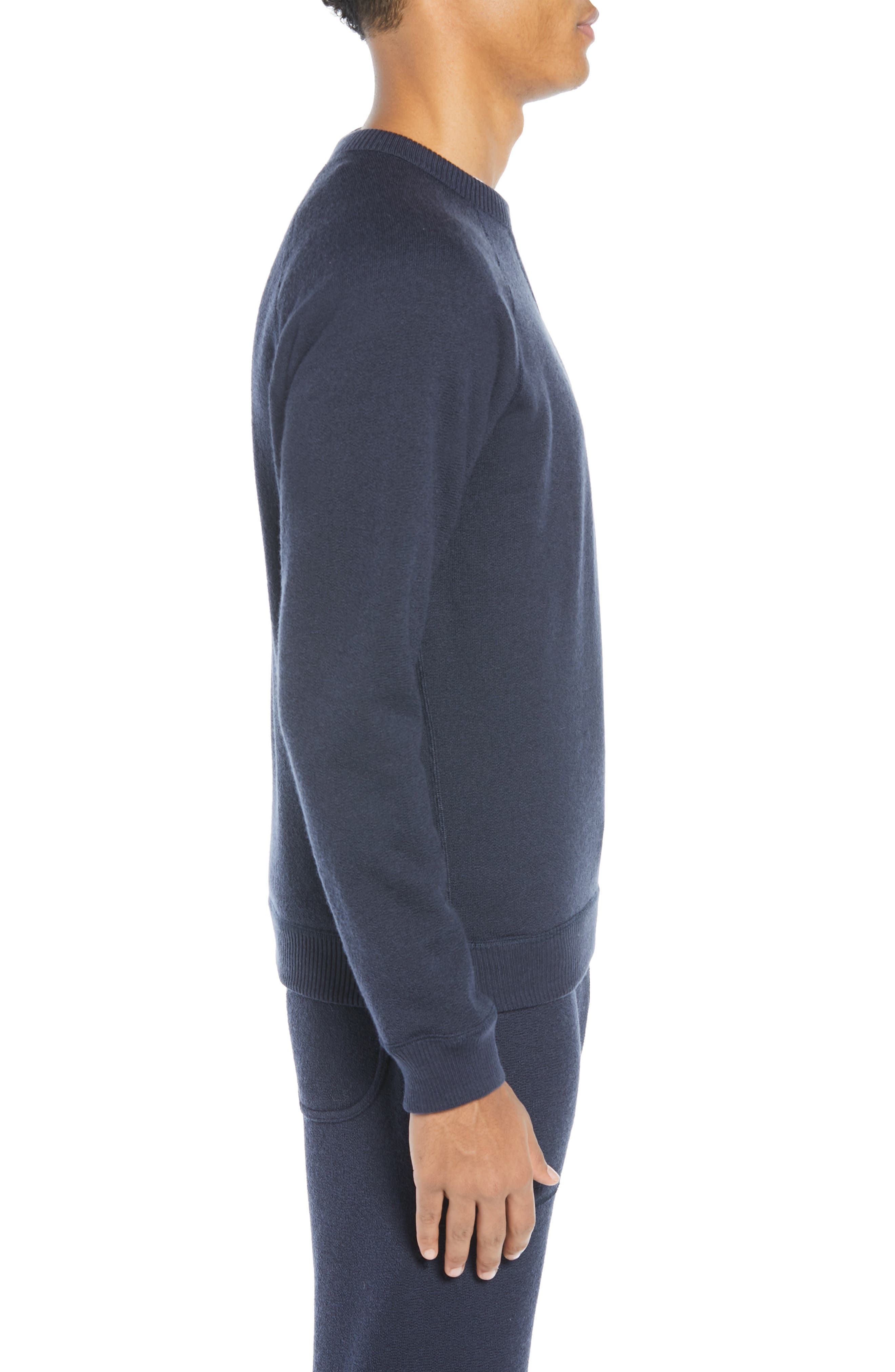 The Merino Wool Fleece Crew Sweatshirt,                             Alternate thumbnail 4, color,                             NAVY