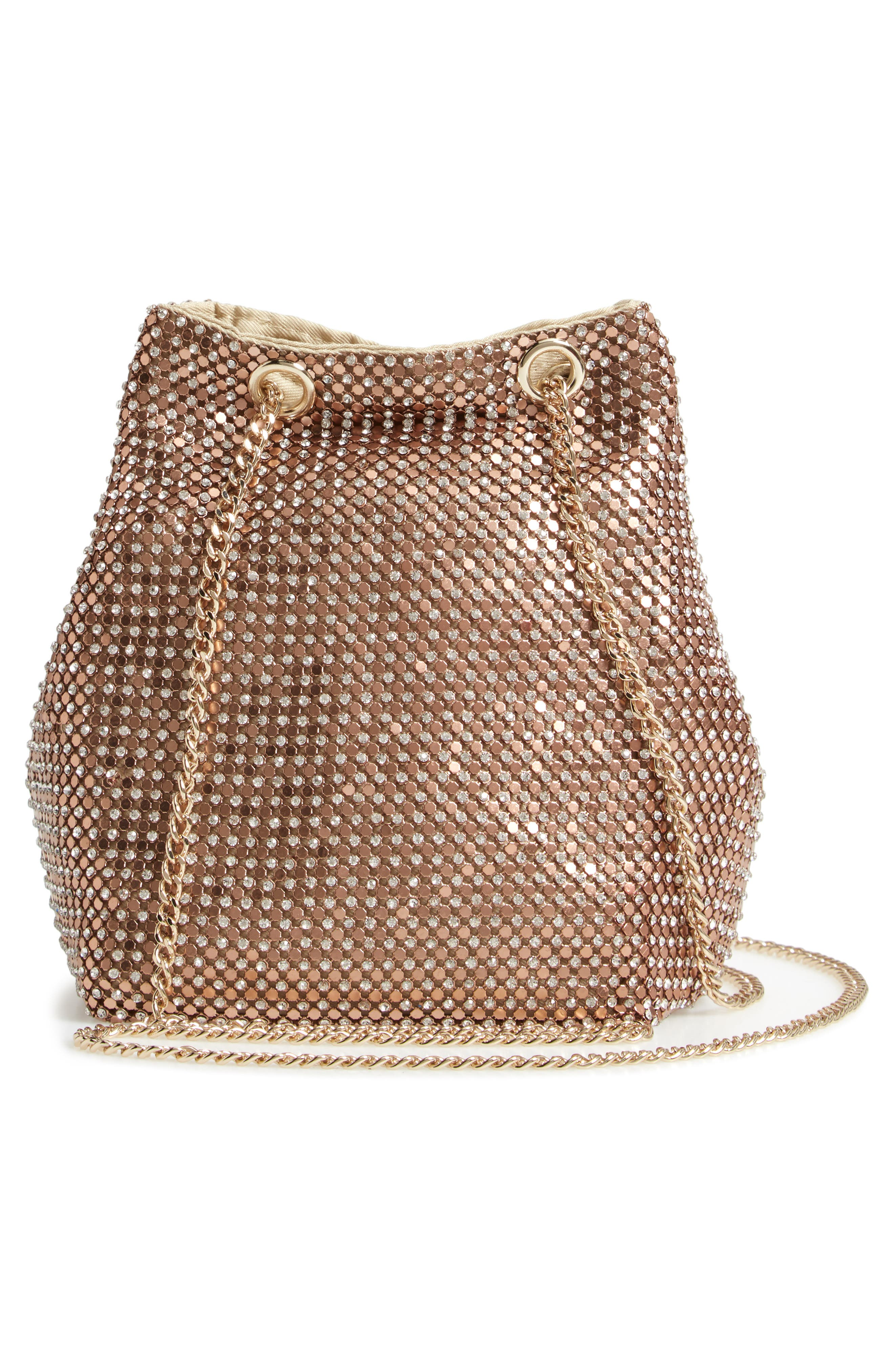 Crystal Mesh Crossbody Bucket Bag,                             Alternate thumbnail 3, color,                             ROSE GOLD