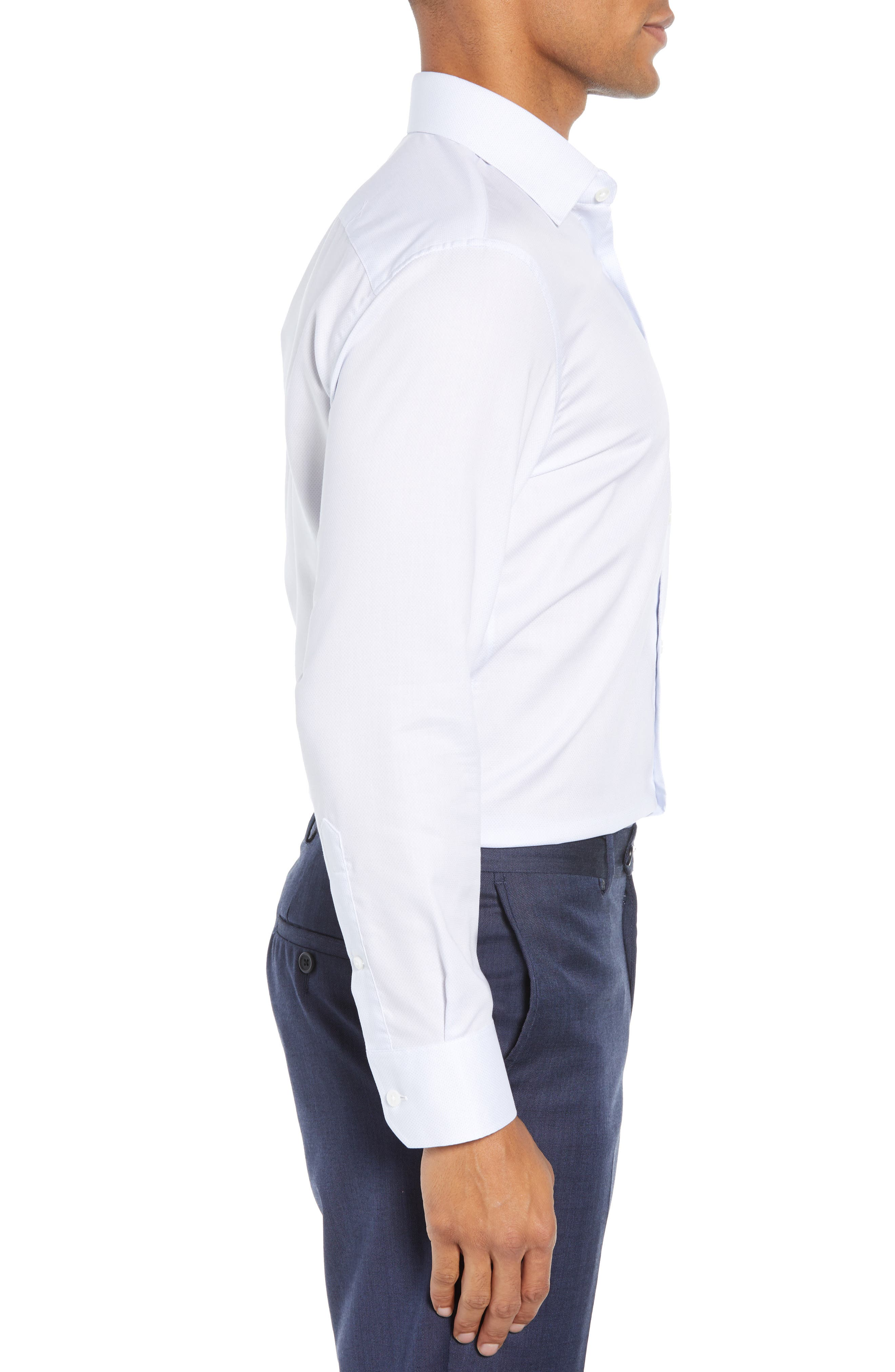 Swiss Performance Slim Fit Solid Dress Shirt,                             Alternate thumbnail 4, color,                             SOFT BLUE