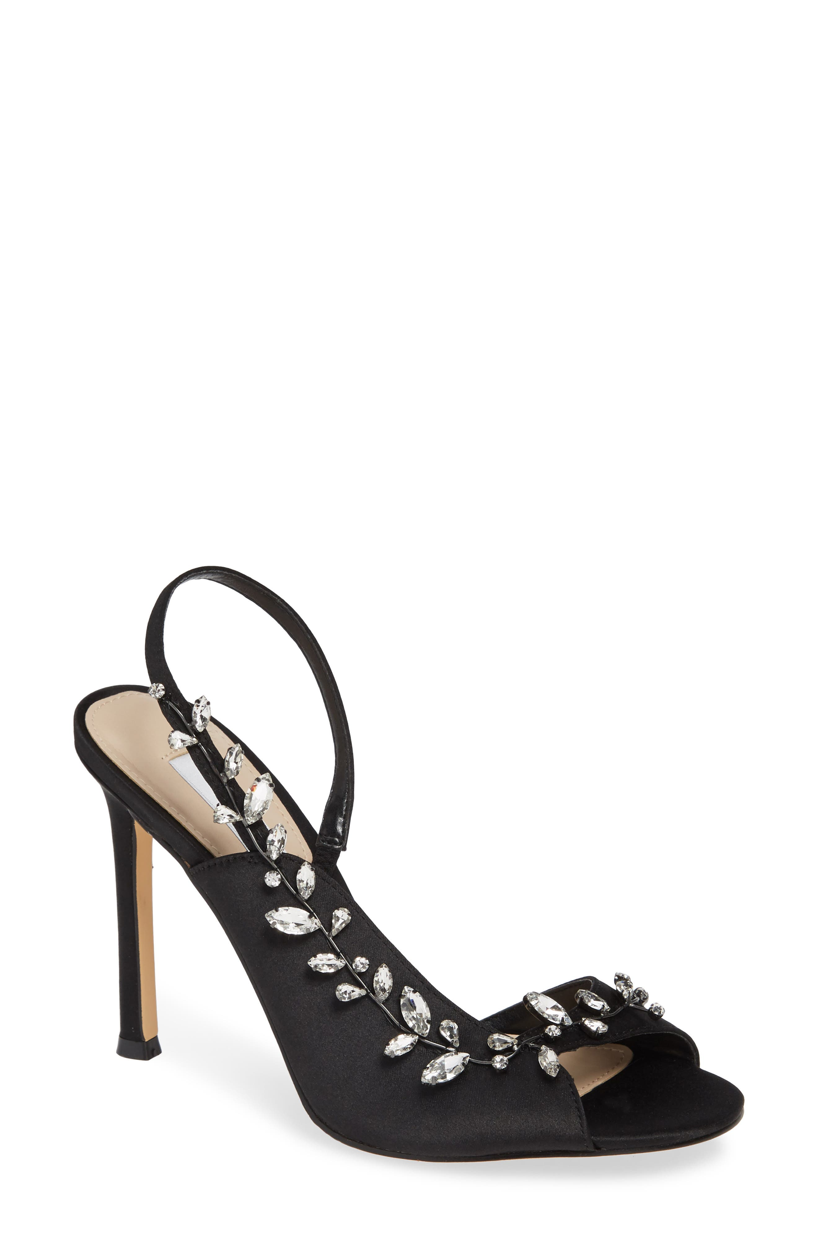 Deanna Embellished Sandal,                             Main thumbnail 1, color,                             BLACK SATIN