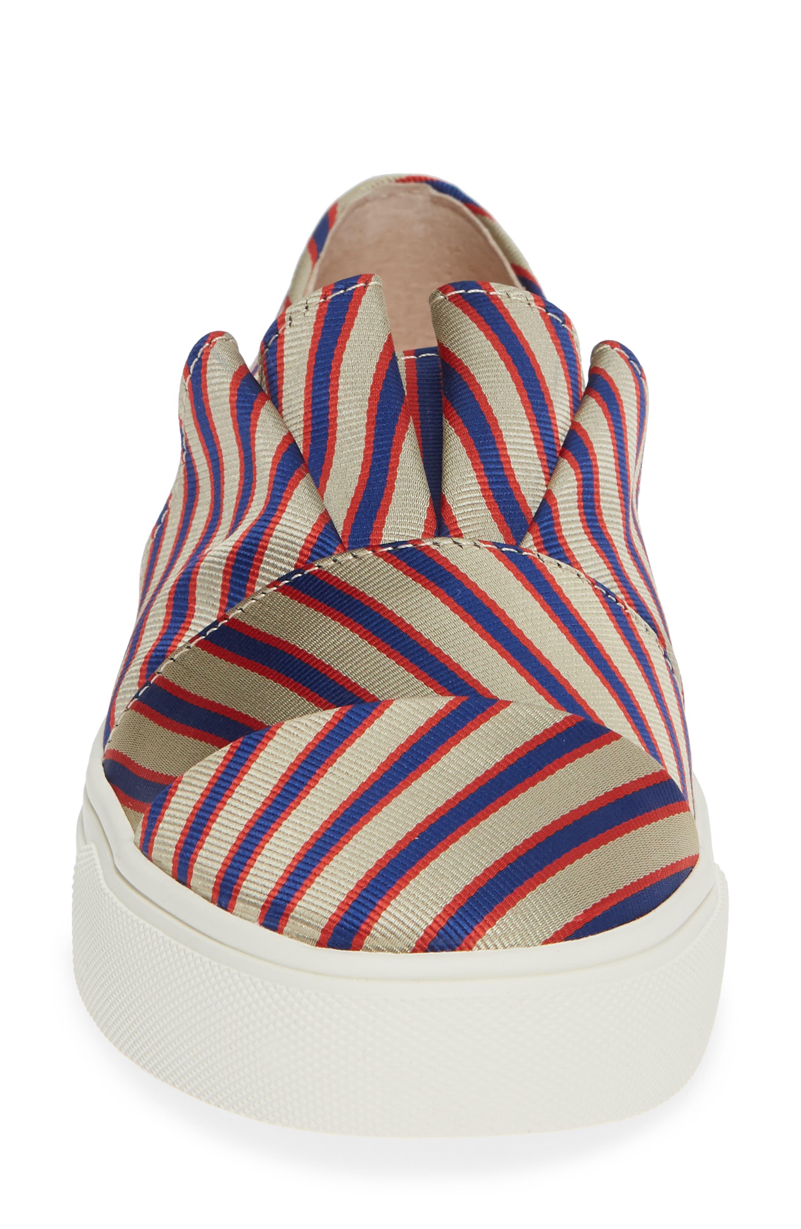 Rooney Slip-On Sneaker,                             Alternate thumbnail 4, color,                             RED/ WHITE/ BLUE FABRIC
