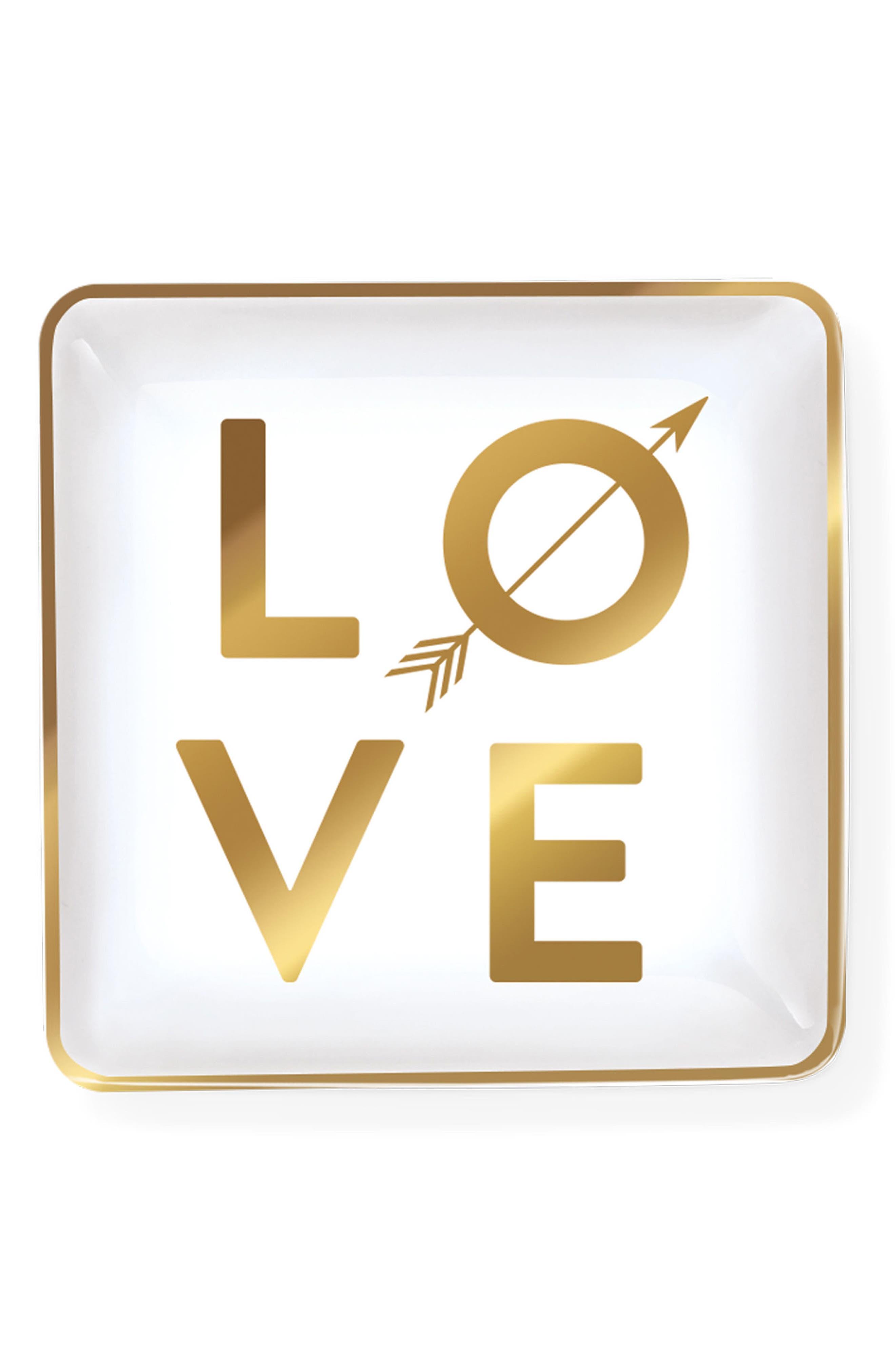 Love Arrow Ceramic Tray,                         Main,                         color, 100