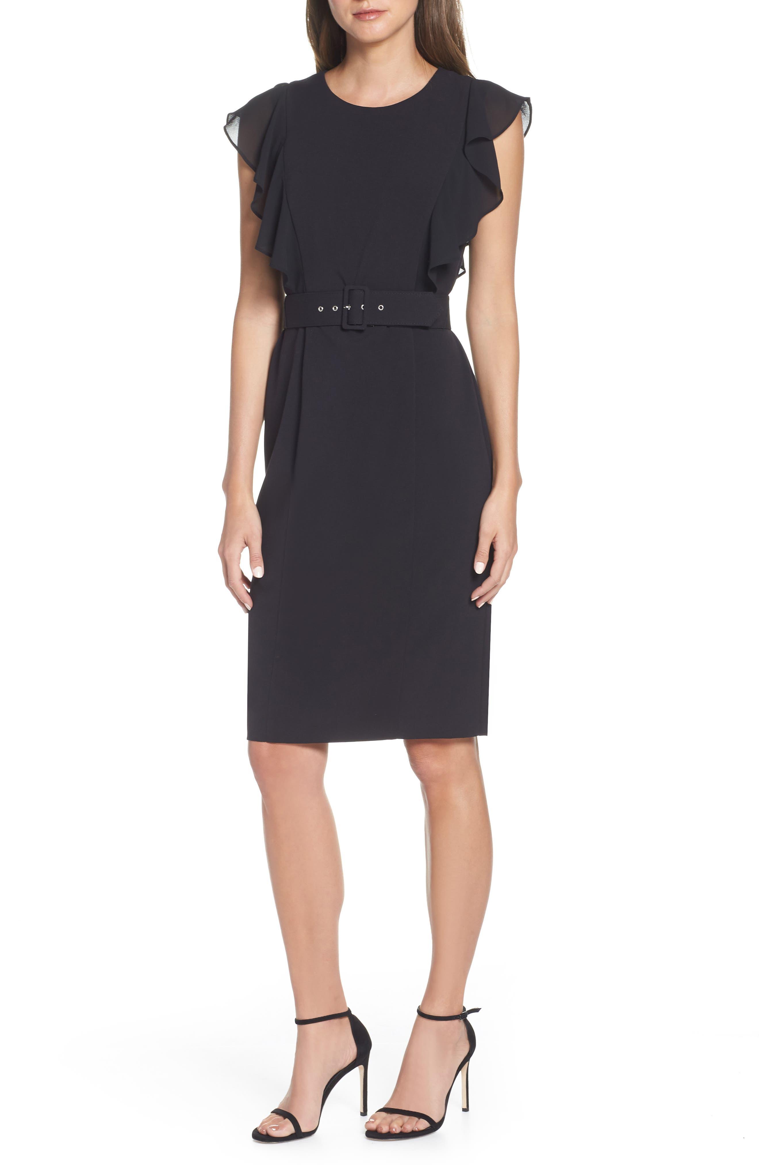 HARPER ROSE Belted Sheath Dress, Main, color, BLACK