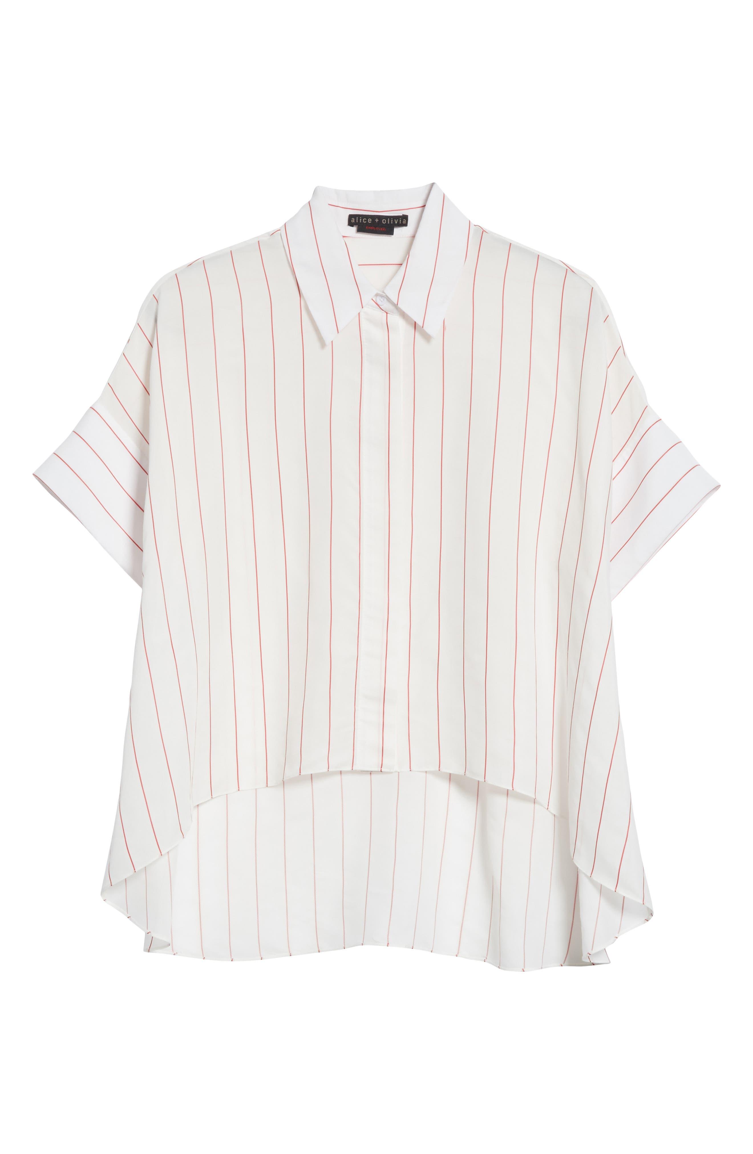 Edyth High/Low Button Down Shirt,                             Alternate thumbnail 6, color,                             134