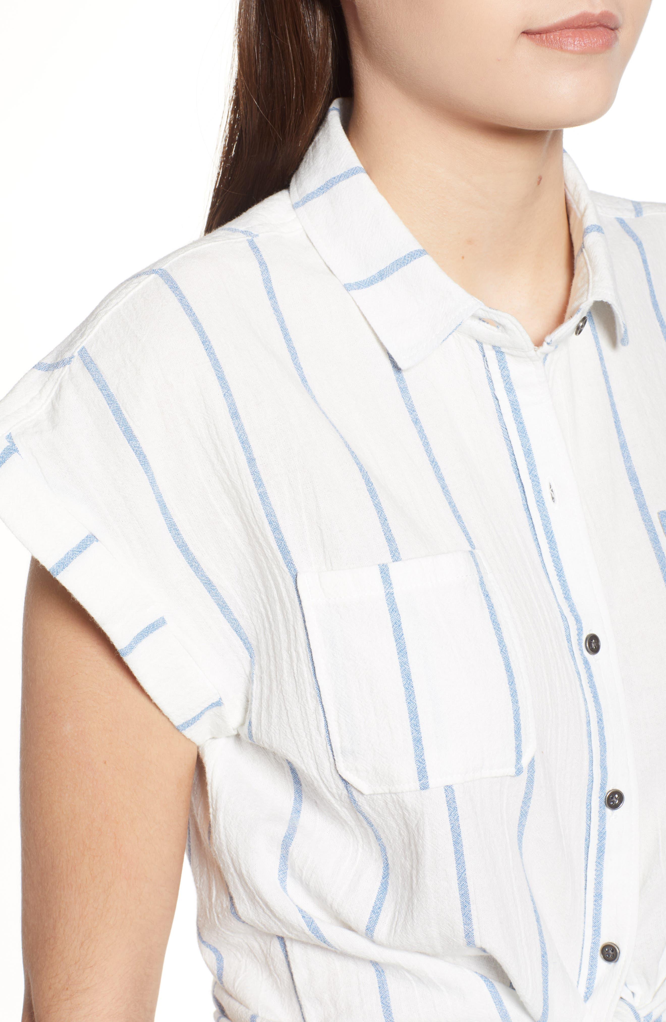 Stripe Cap Sleeve Top,                             Alternate thumbnail 4, color,                             900