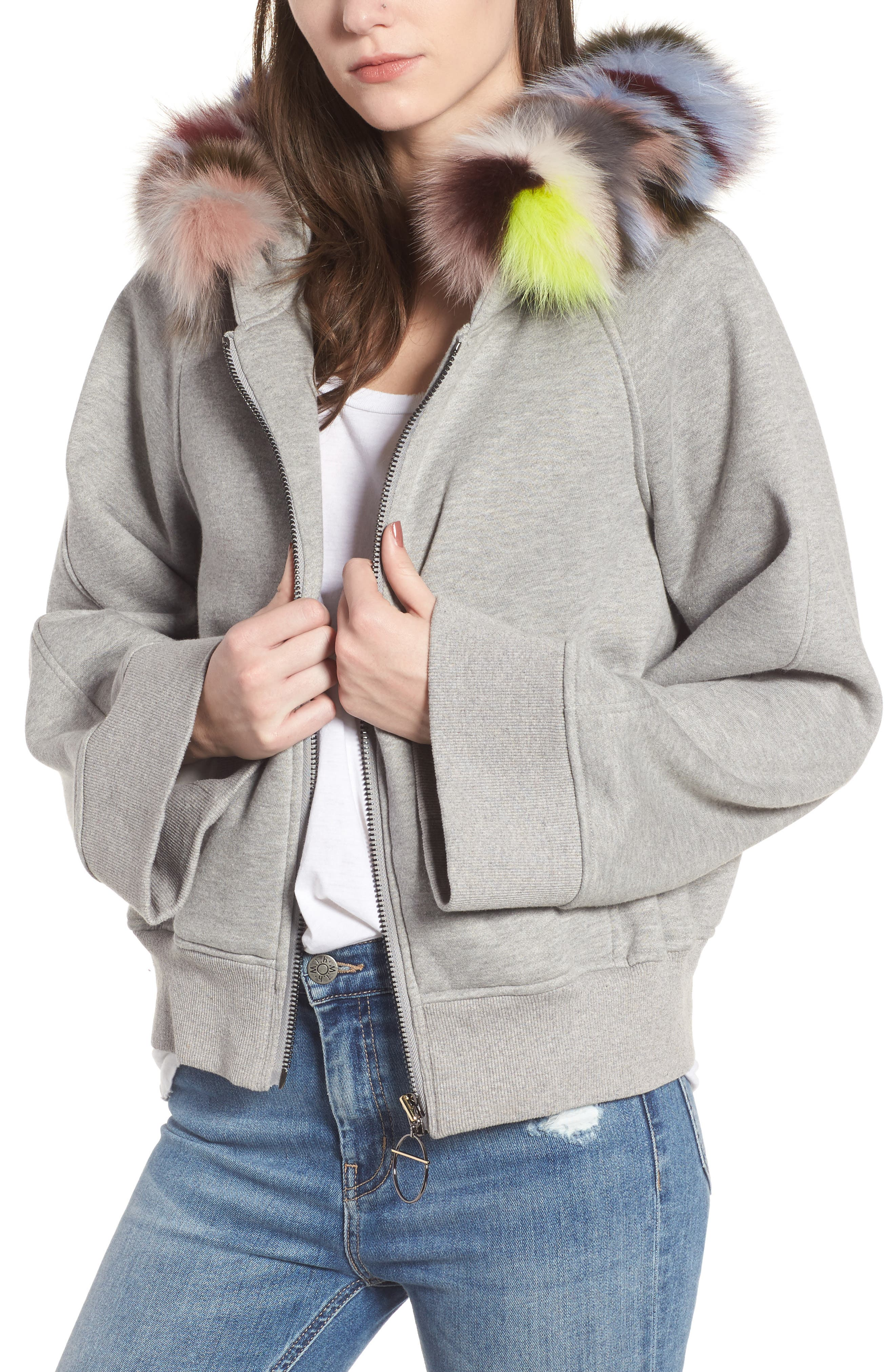BAGATELLE.CITY The Luxe Hooded Jacket with Genuine Fox Fur Trim,                             Main thumbnail 1, color,