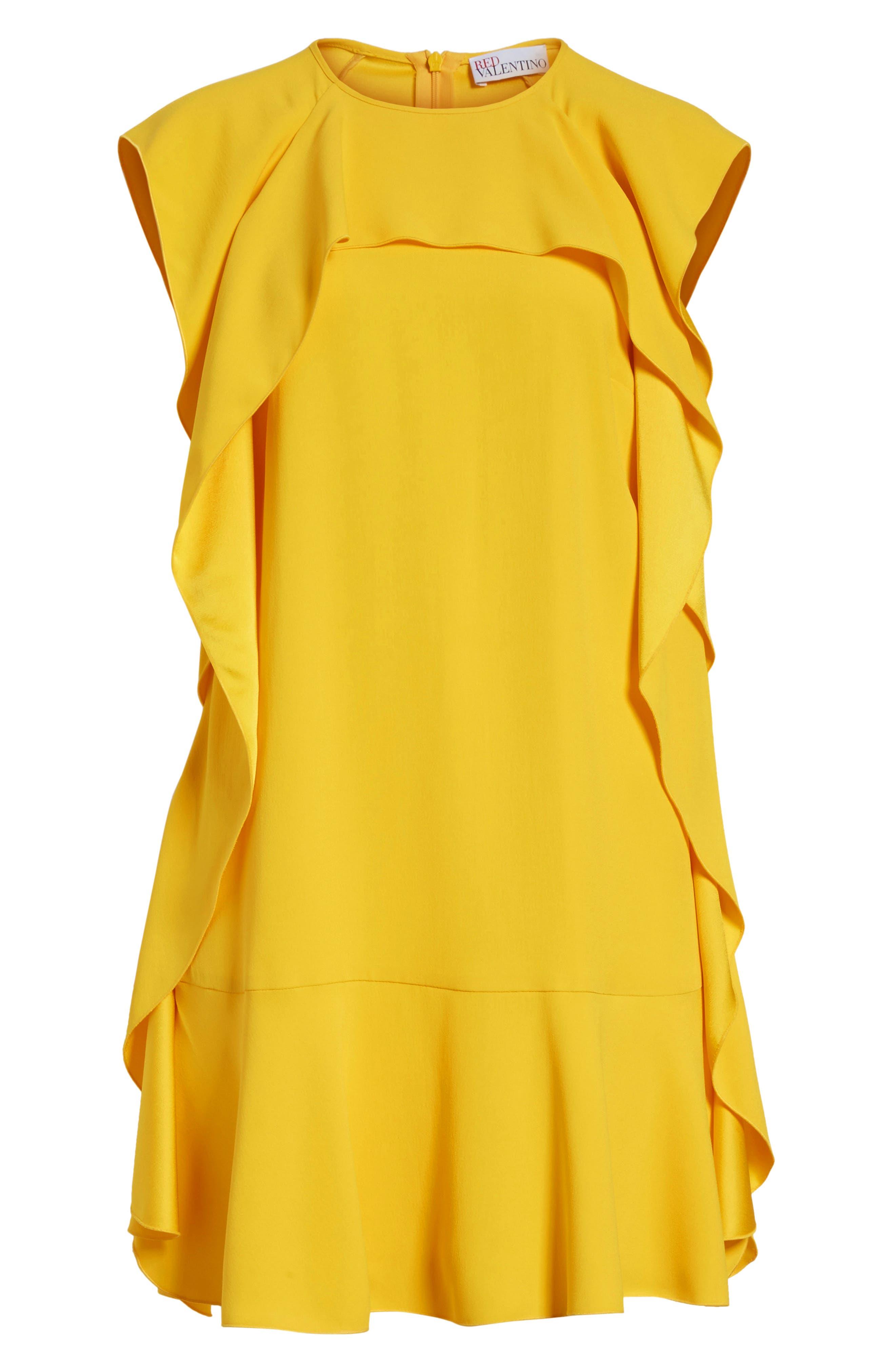 Ruffle Satin Back Crepe Dress,                             Alternate thumbnail 7, color,                             700