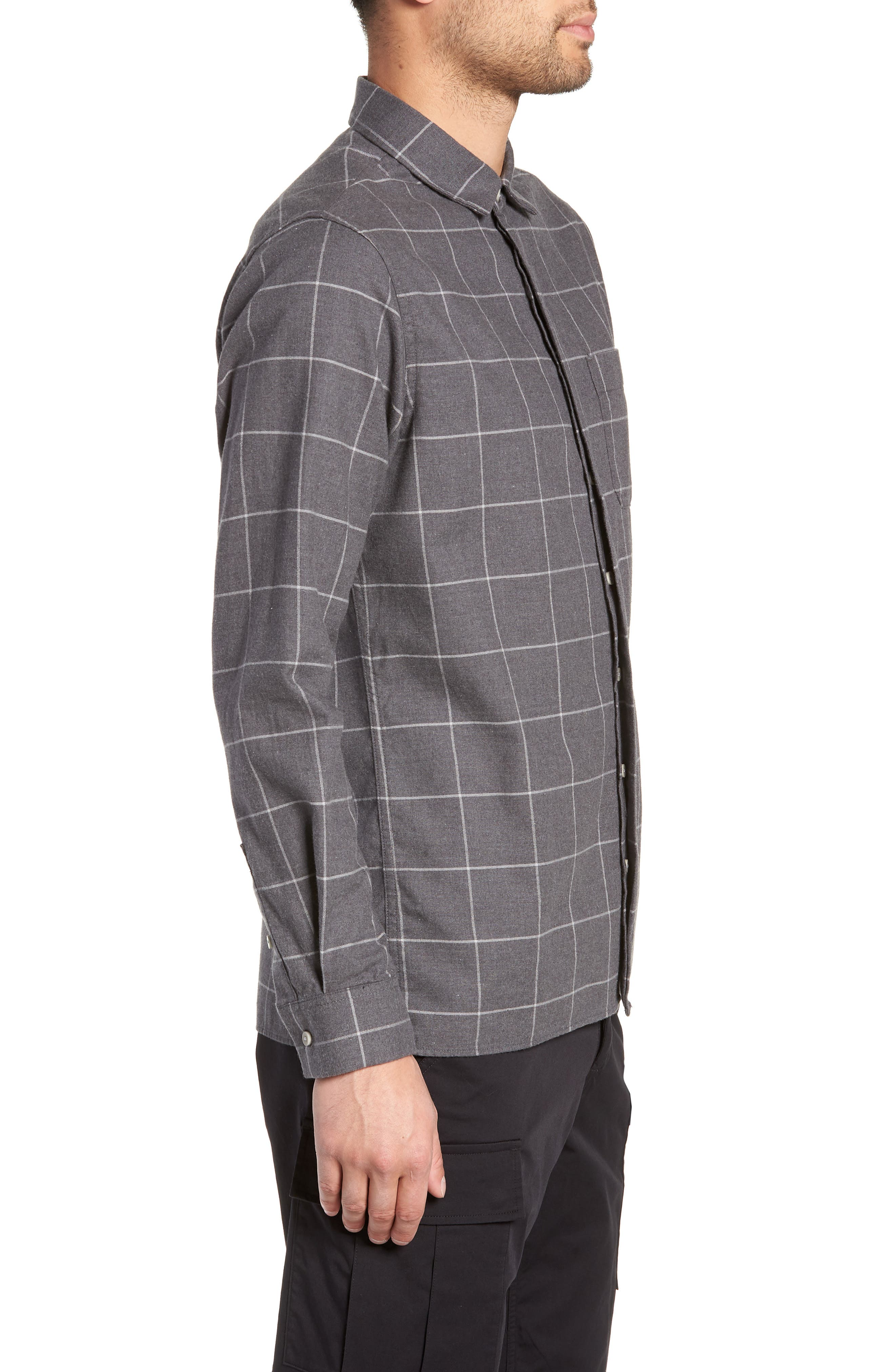 Windowpane Flannel Shirt,                             Alternate thumbnail 4, color,                             GREY