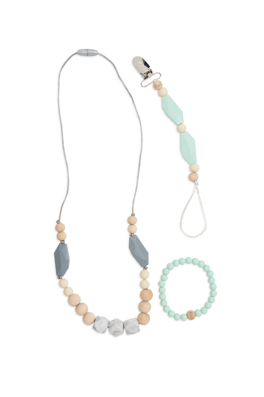 BELLA TUNNO,                             Mint Teething Necklace, Bracelet & Pacifier Clip Set,                             Main thumbnail 1, color,                             300