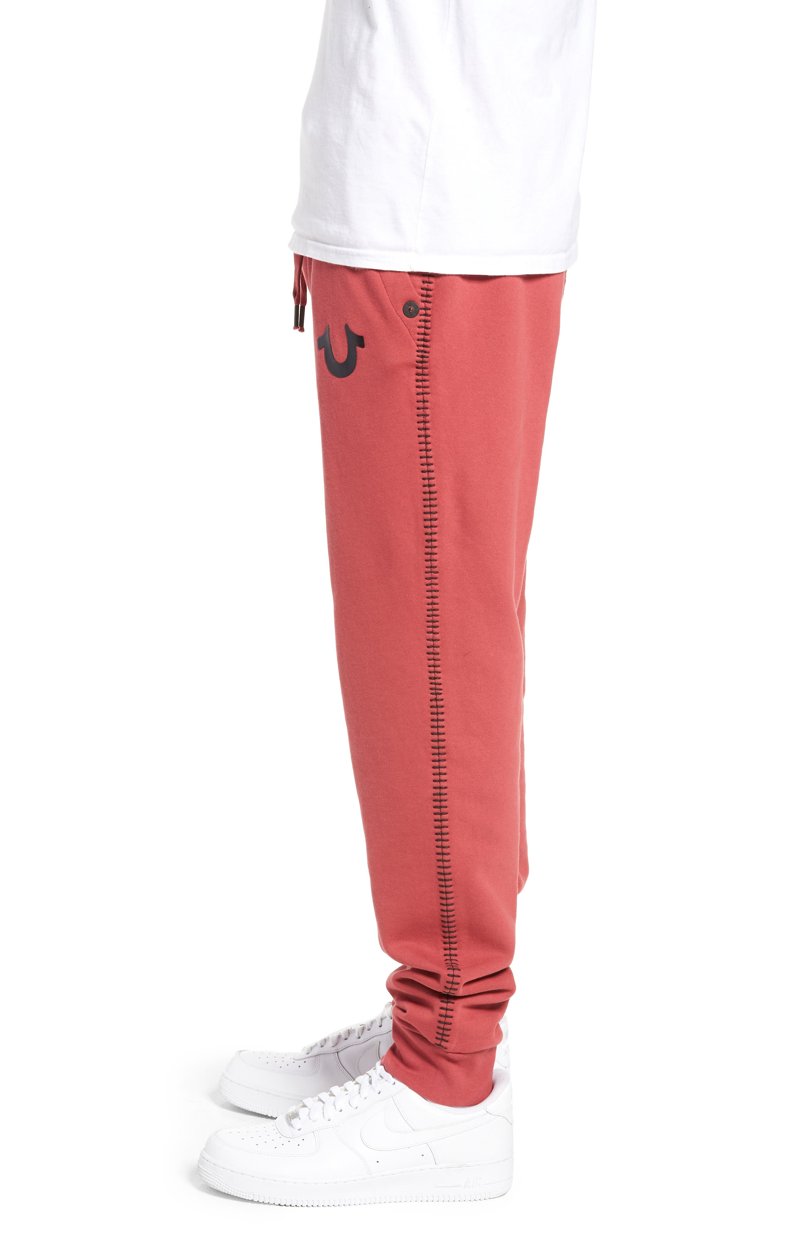 Metallic Buddha Sweatpants,                             Alternate thumbnail 3, color,                             GOTH RED