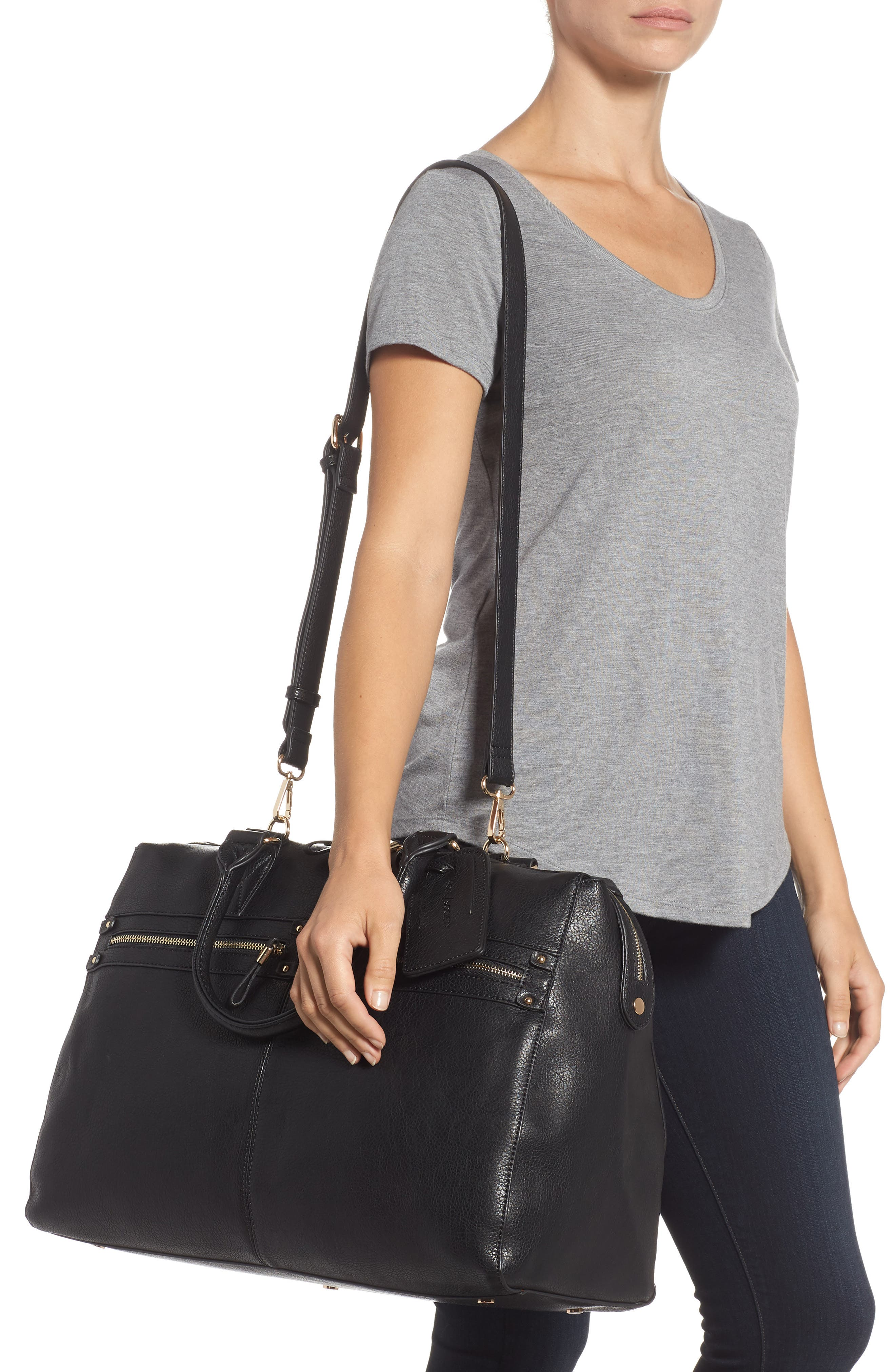 Zypa Faux Leather Weekend Bag,                             Alternate thumbnail 2, color,                             BLACK