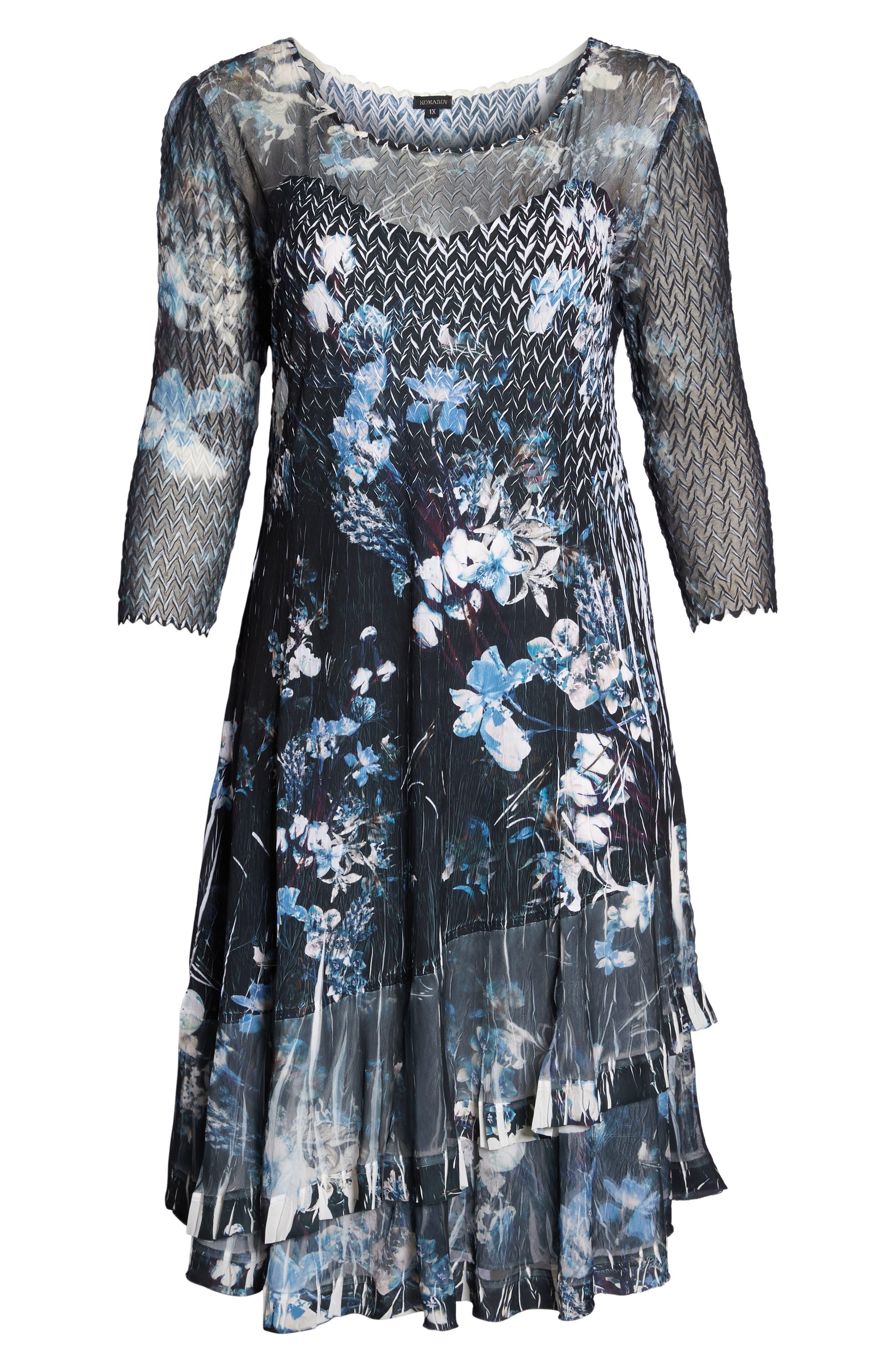 Floral Georgette & Chiffon A-Line Dress,                             Alternate thumbnail 7, color,                             002