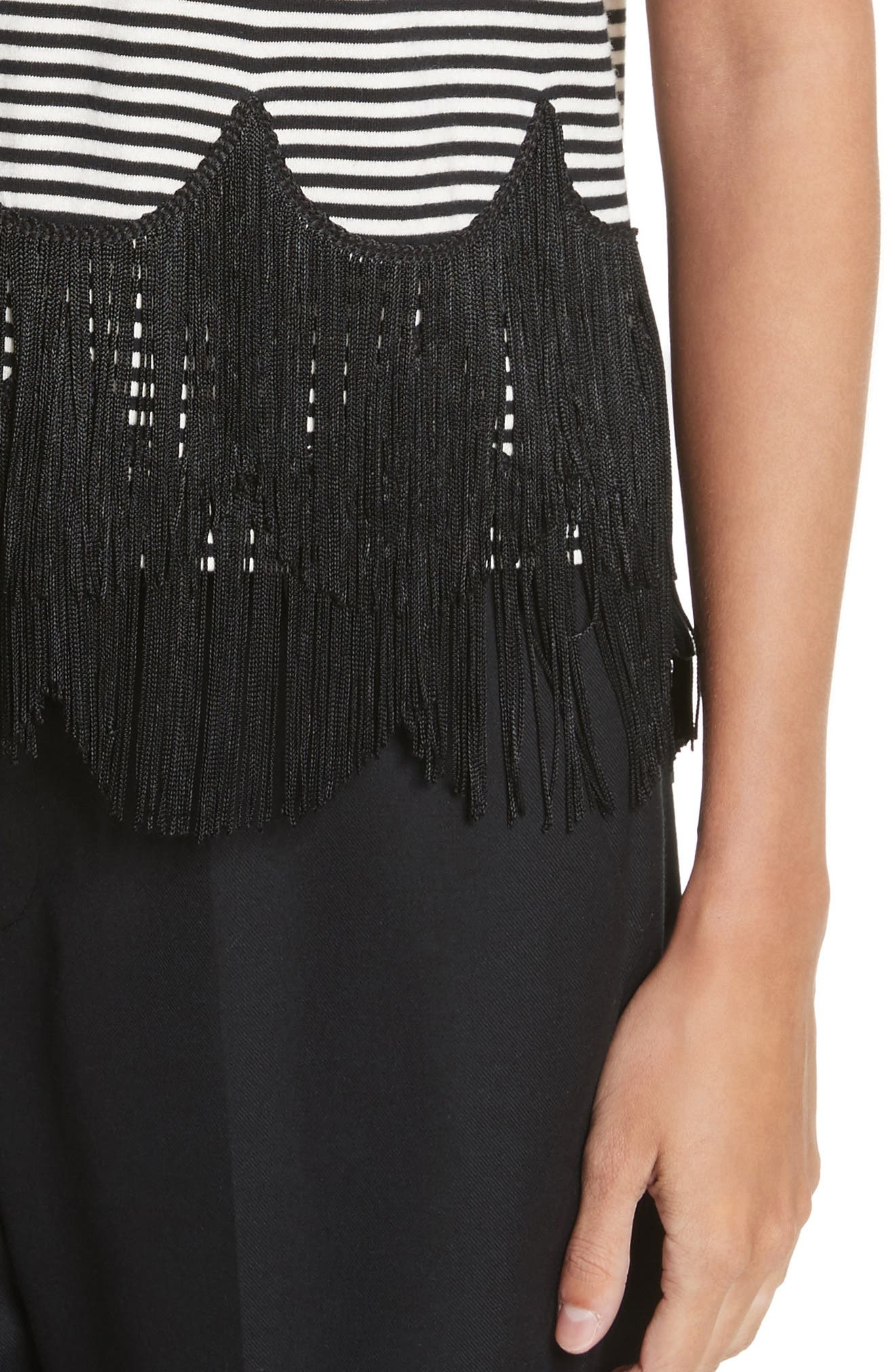 Fringe Trim Mock Neck Tank,                             Alternate thumbnail 4, color,                             002