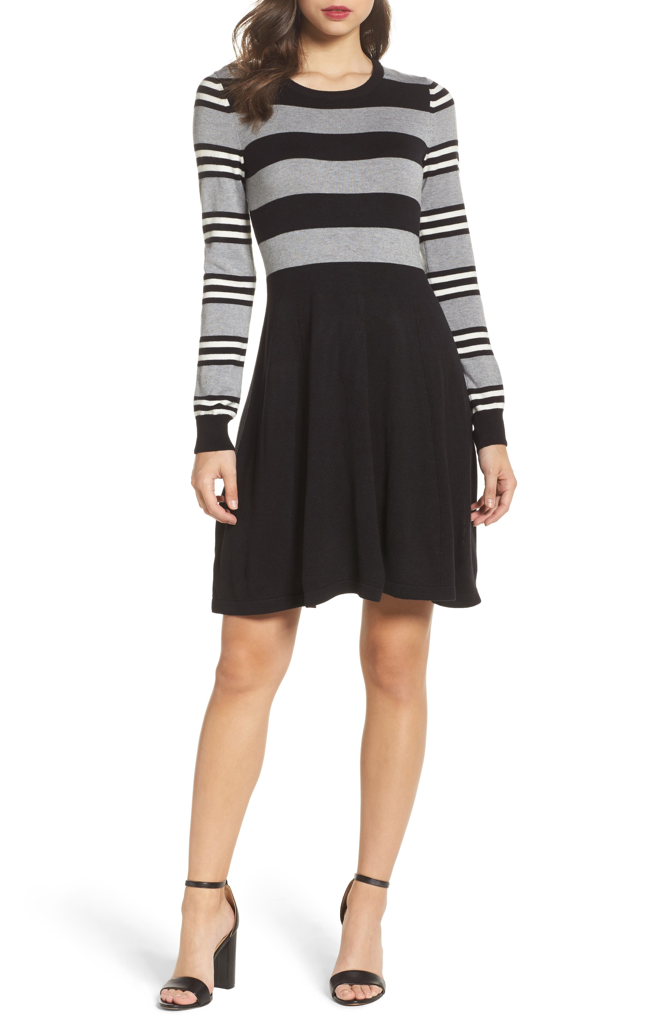 Fit & Flare Sweater Dress,                             Alternate thumbnail 5, color,                             003