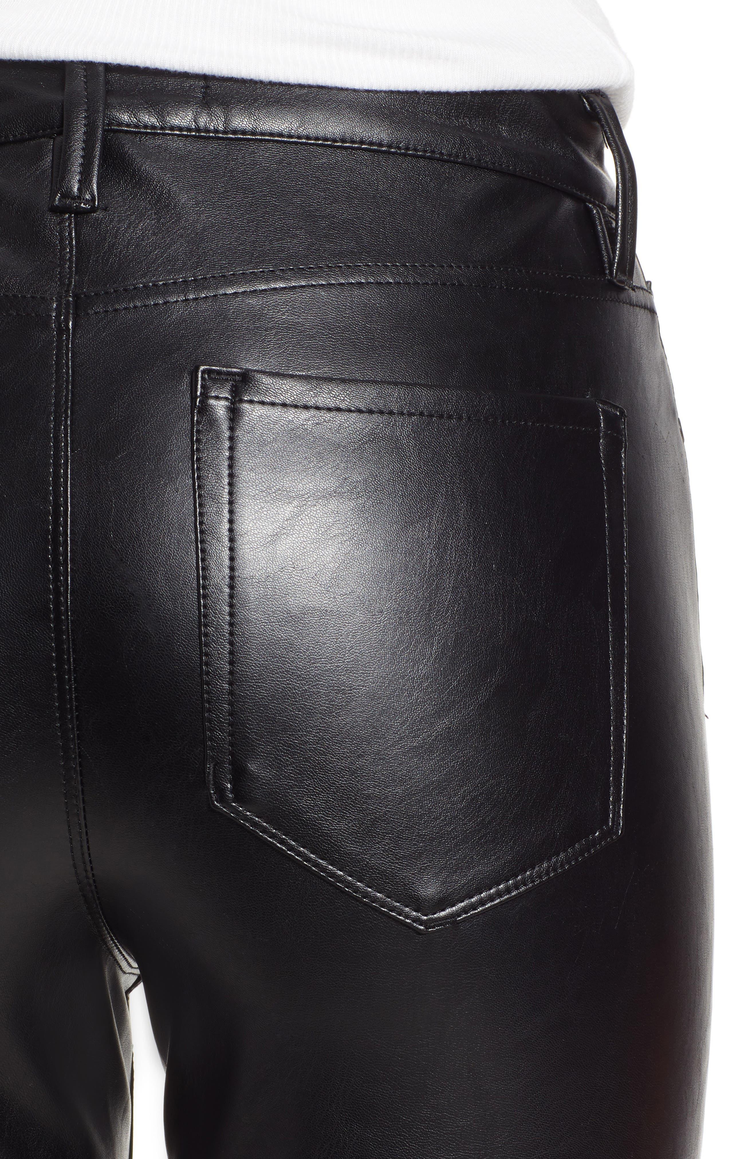 High Waist Faux Leather Skinny Pants,                             Alternate thumbnail 4, color,                             BLACK