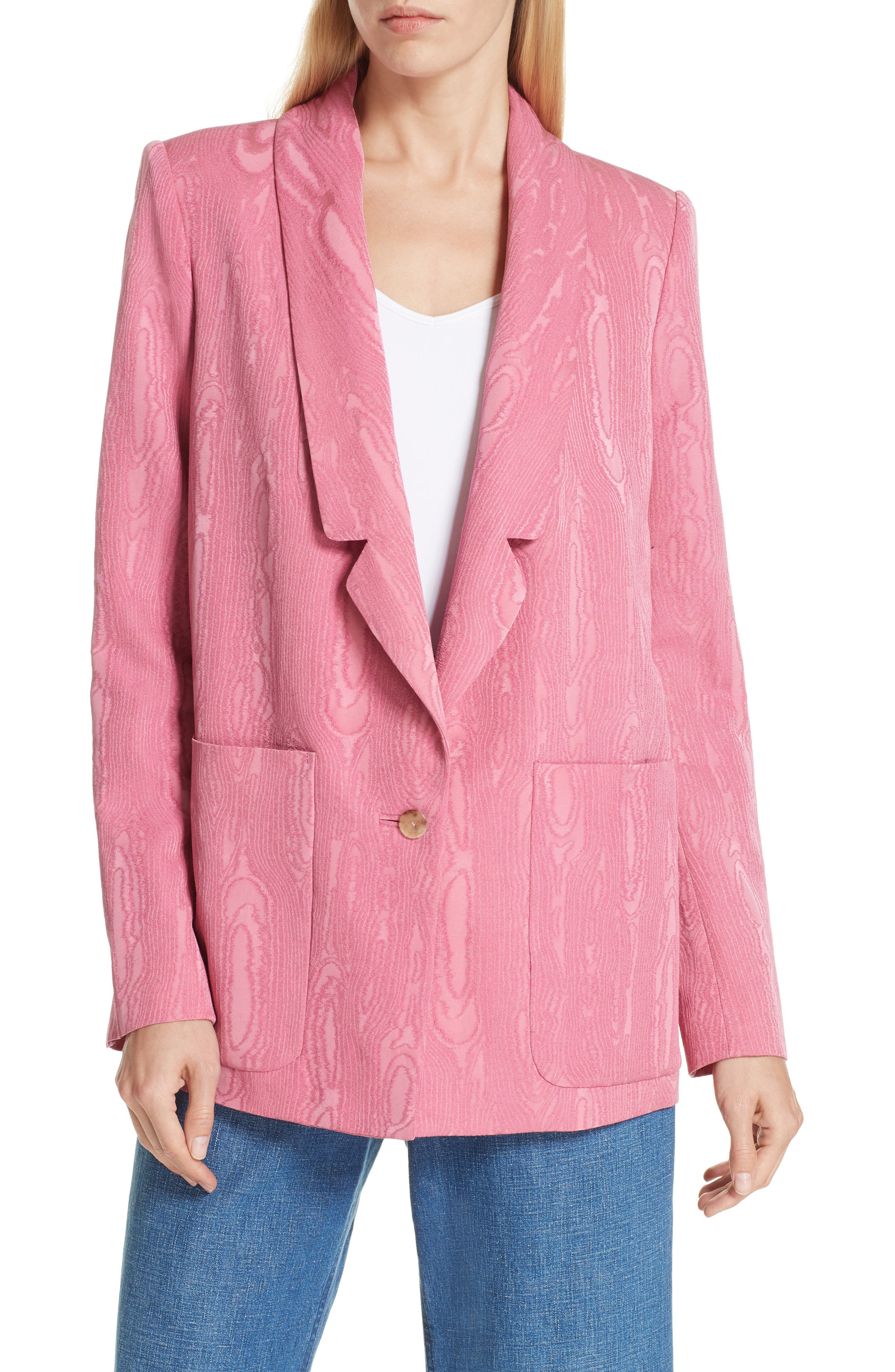 Lovely Wool Blend Moiré Blazer,                             Main thumbnail 1, color,                             PINK