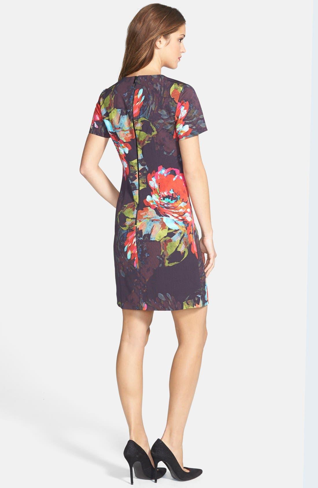 'Natasha' Flower Print Faille A-Line Dress,                             Alternate thumbnail 2, color,                             001