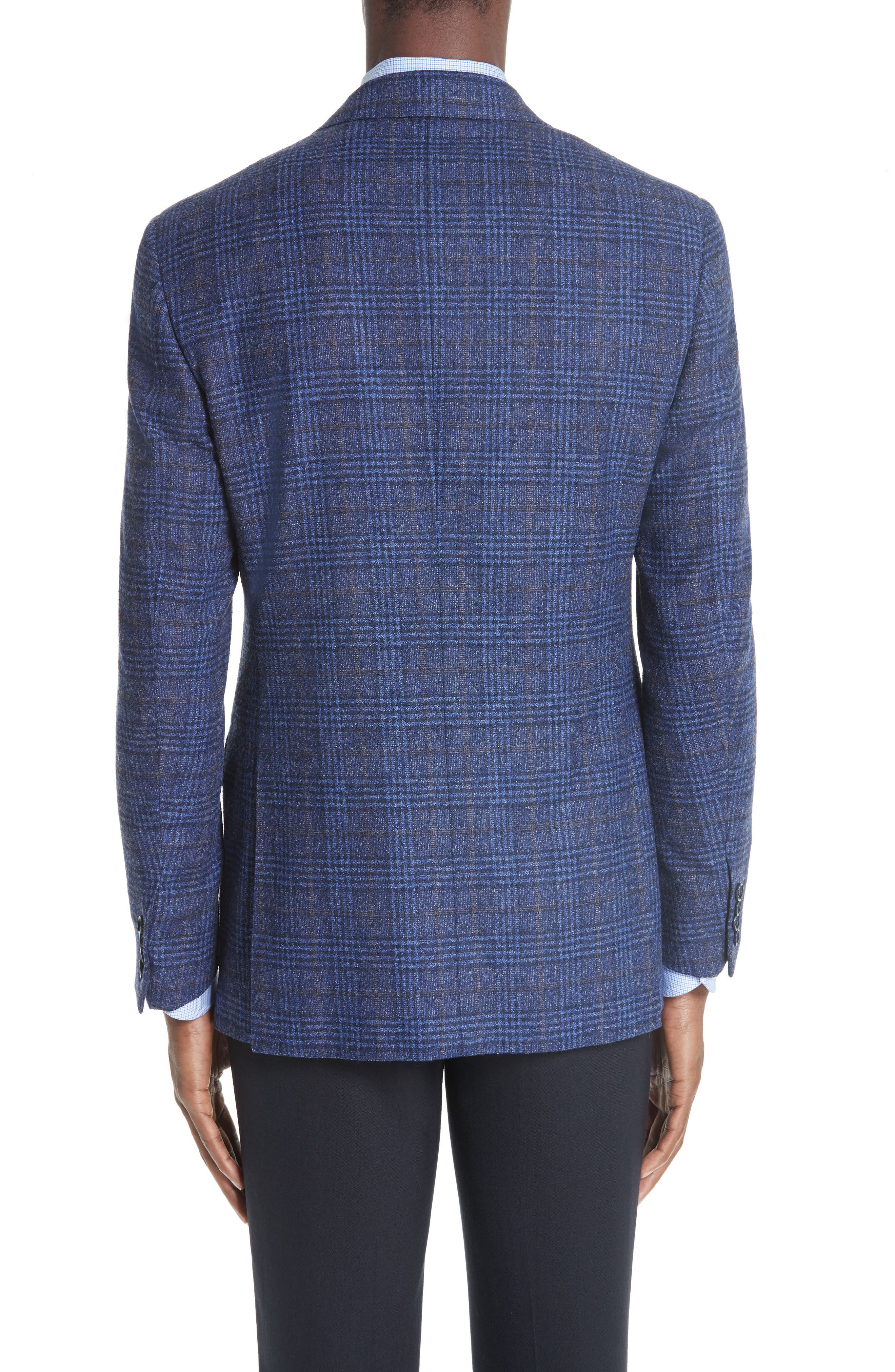 Classic Fit Plaid Wool Blend Sport Coat,                             Alternate thumbnail 2, color,                             DARK BLUE