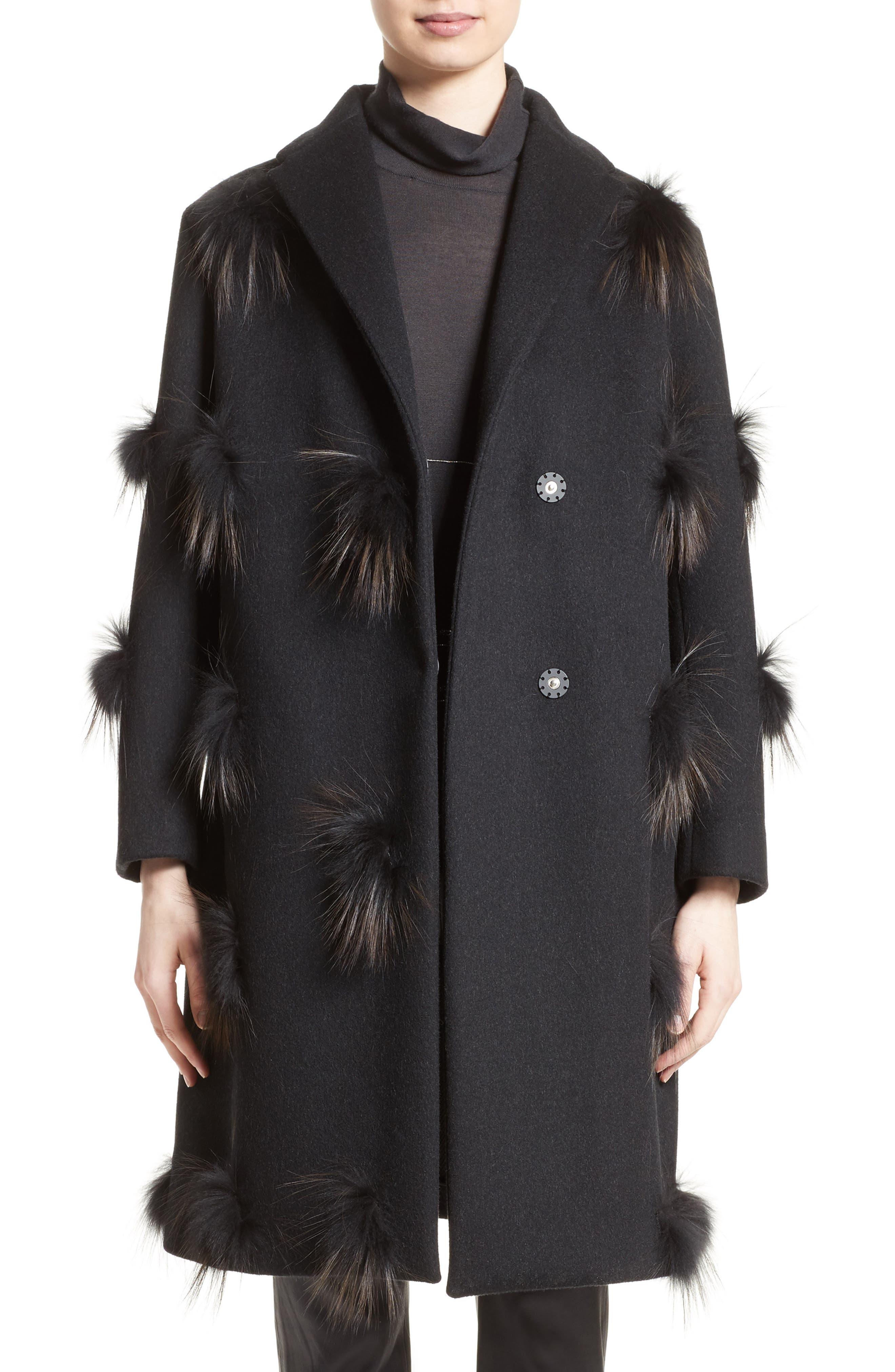 Genuine Fox Fur Trim Wool Blend Coat,                             Main thumbnail 1, color,                             001