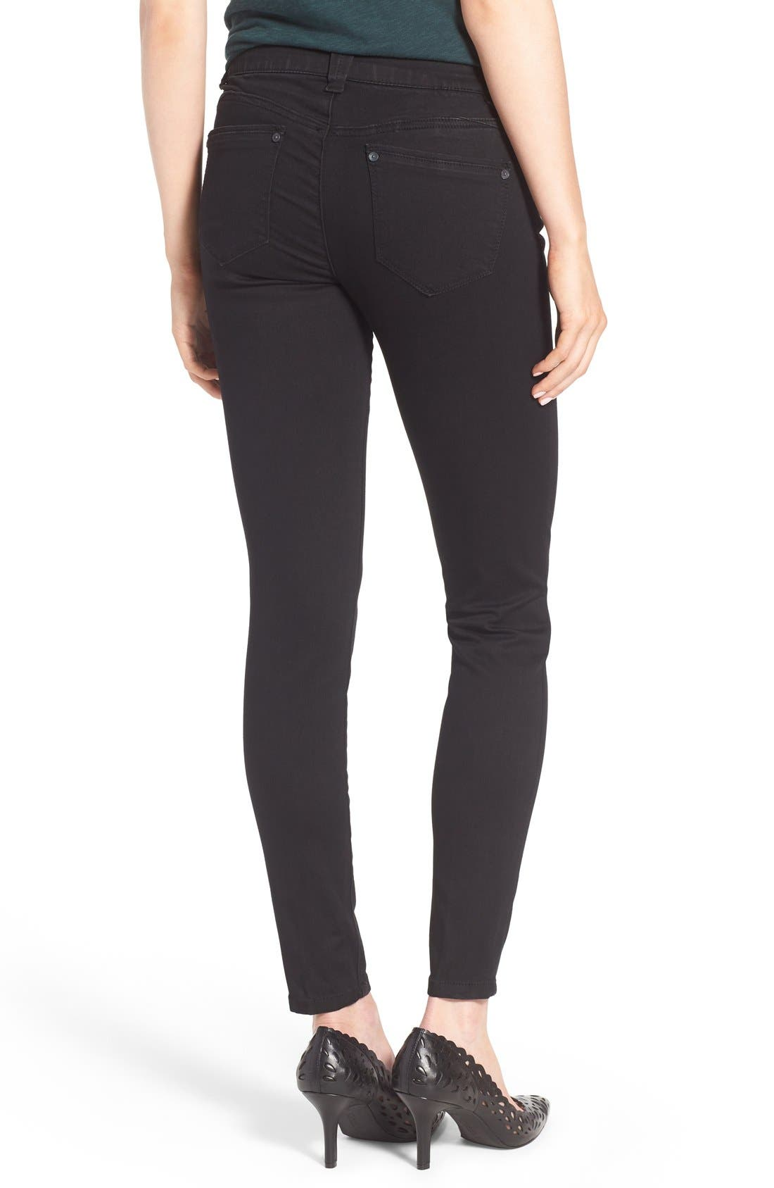Ab-solution Stretch Skinny Jeans,                             Alternate thumbnail 4, color,                             BLACK