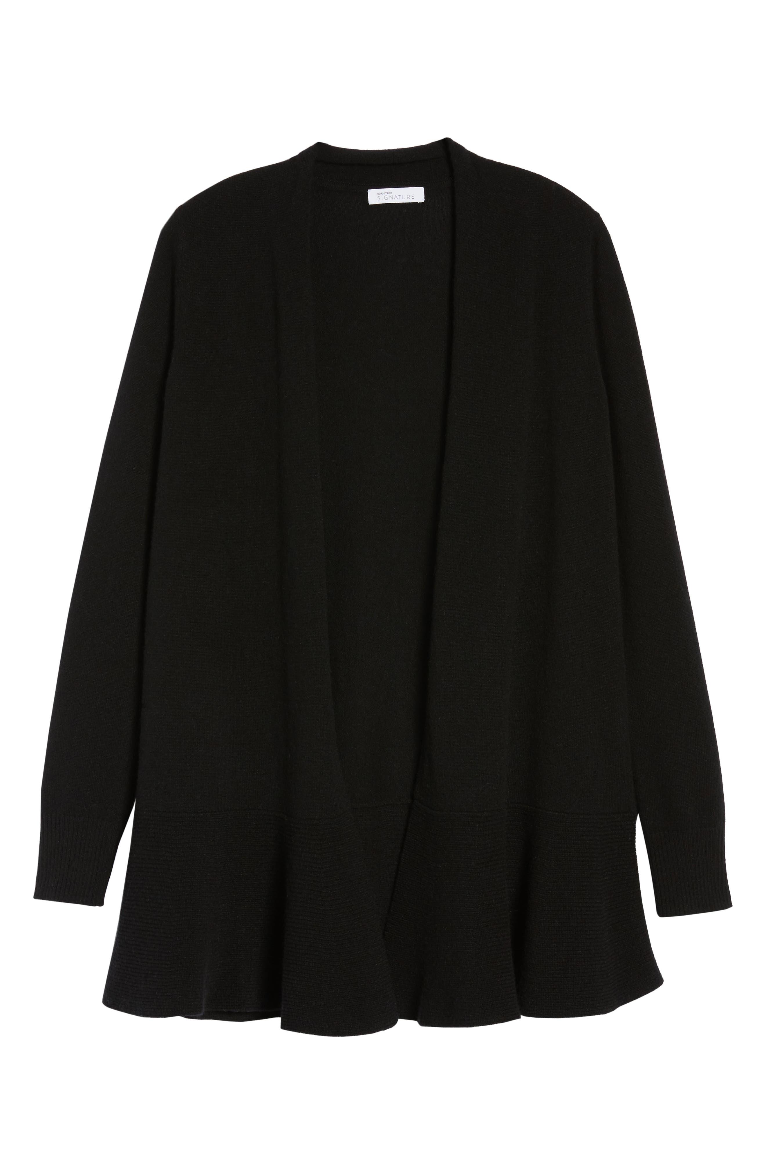 Cashmere Ruffle Hem Open Cardigan,                             Alternate thumbnail 6, color,                             BLACK