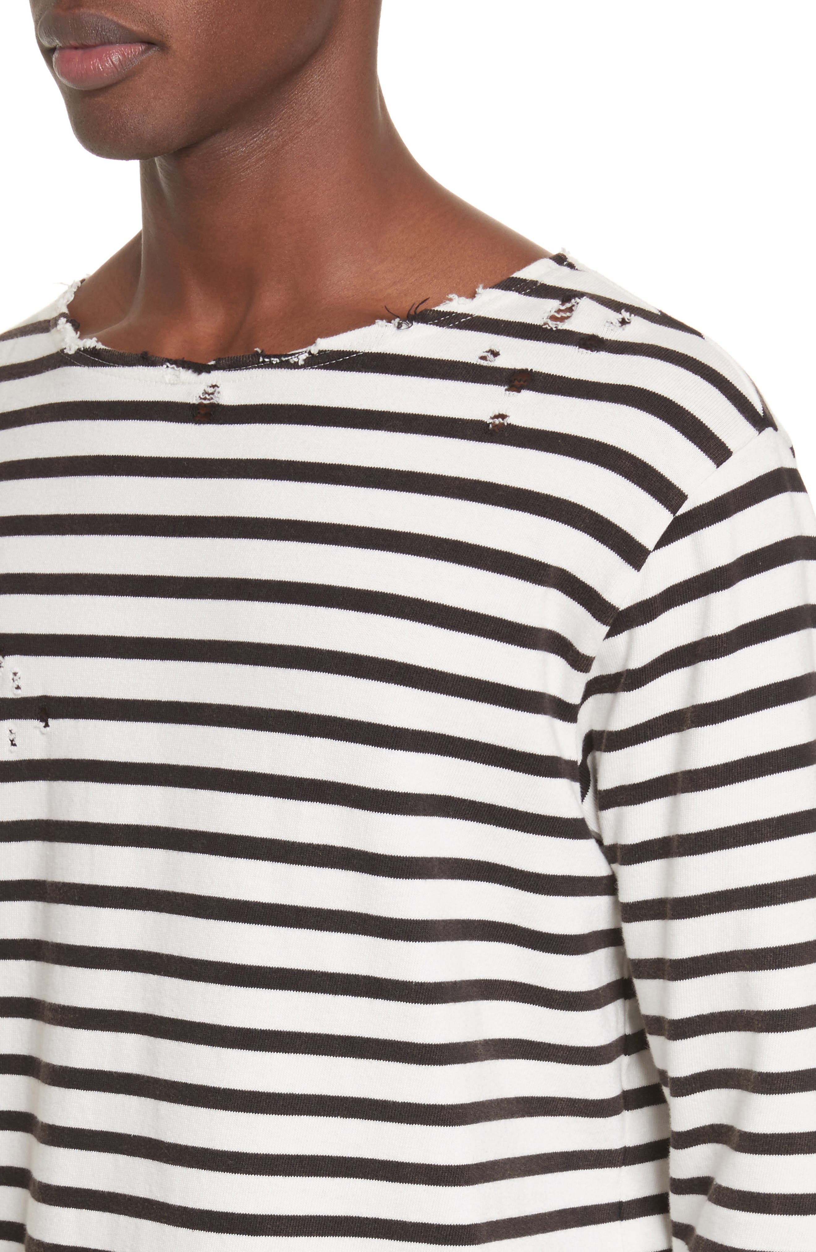 Distressed Stripe Long Sleeve T-Shirt,                             Alternate thumbnail 4, color,                             BLACK W/ ECRU