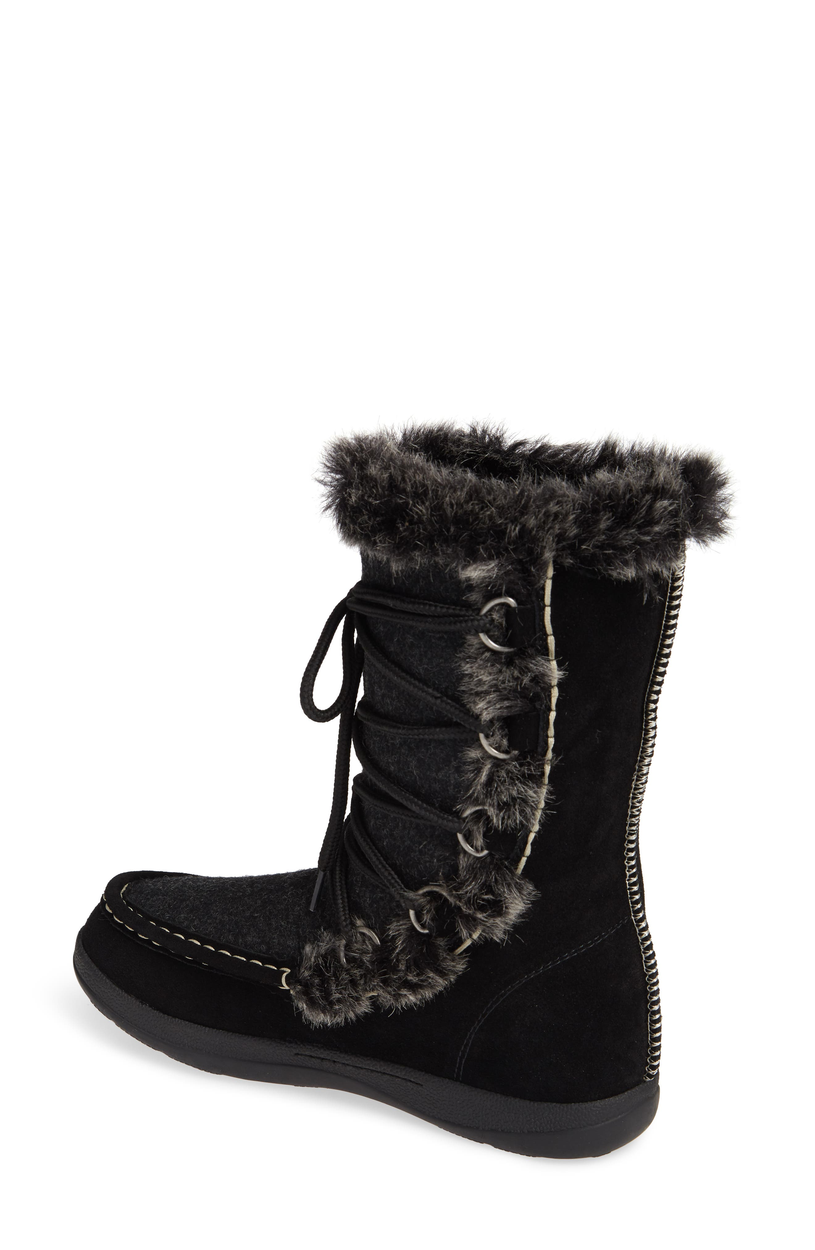 Lace Up Bootie,                             Alternate thumbnail 2, color,                             BLACK WOOL